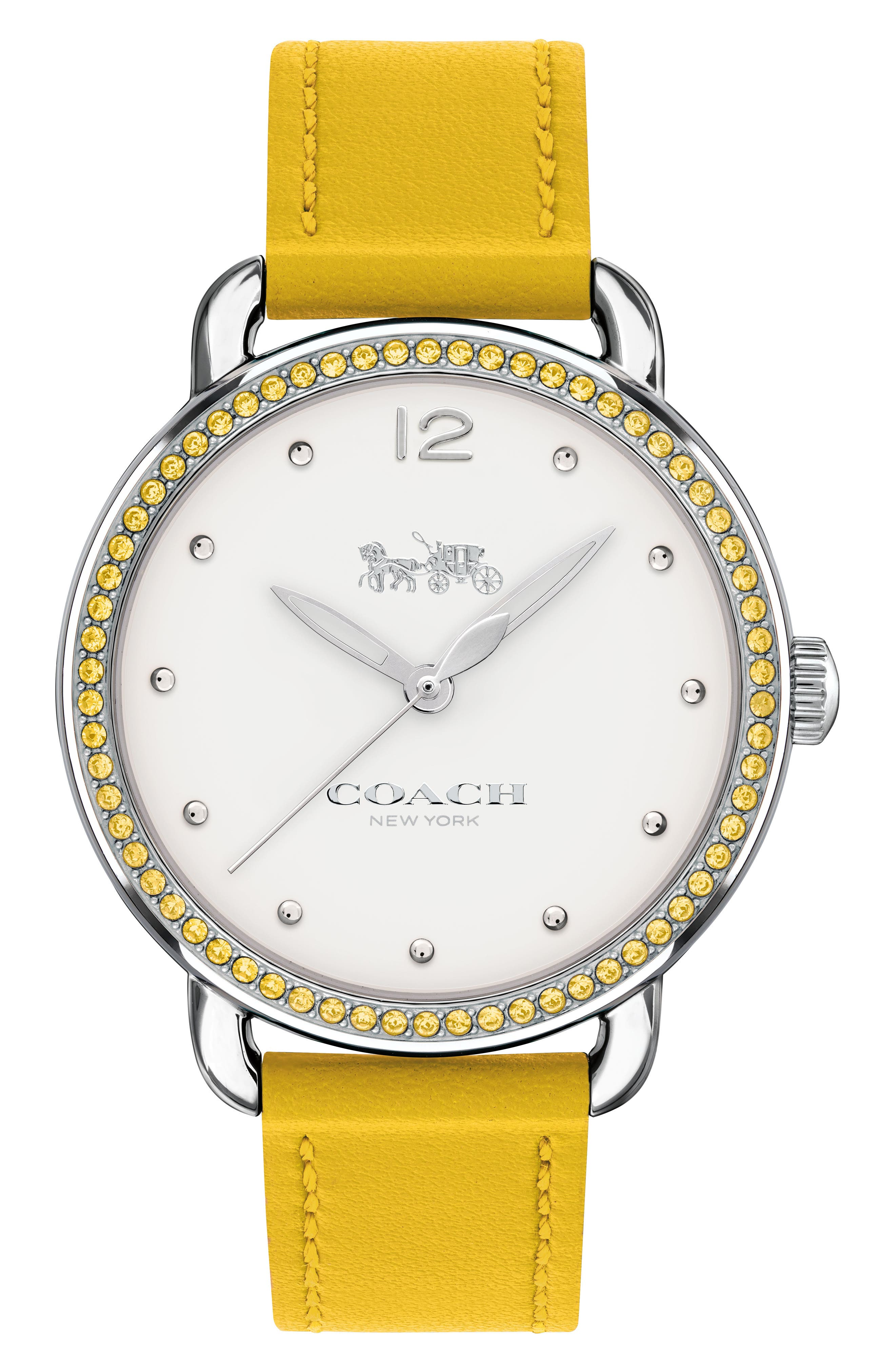 Delancey Pavé Bezel Leather Strap Watch, 36mm,                         Main,                         color, Yellow/ White/ Silver