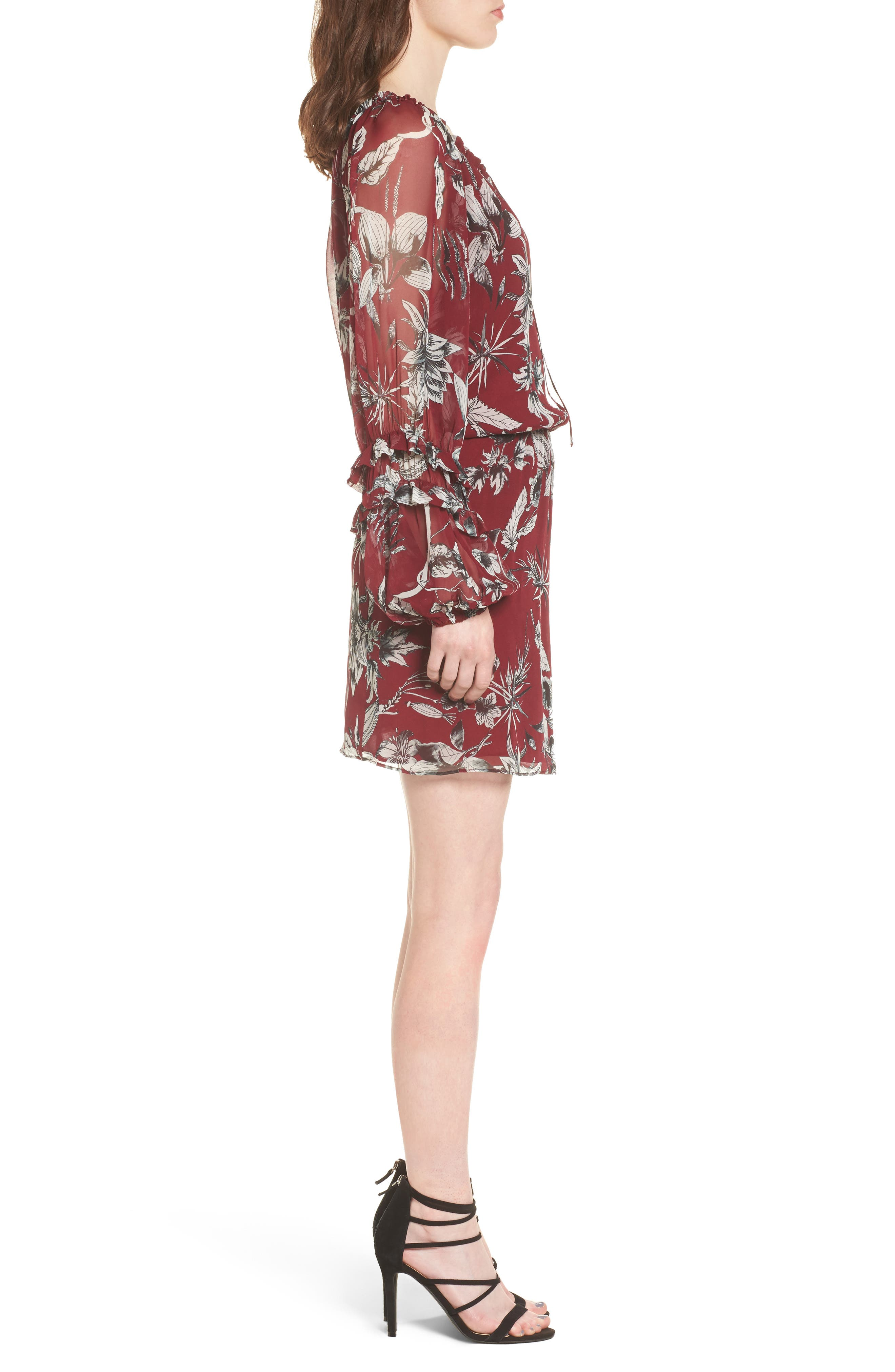 Nicole Silk Blouson Dress,                             Alternate thumbnail 3, color,                             Red Rooted