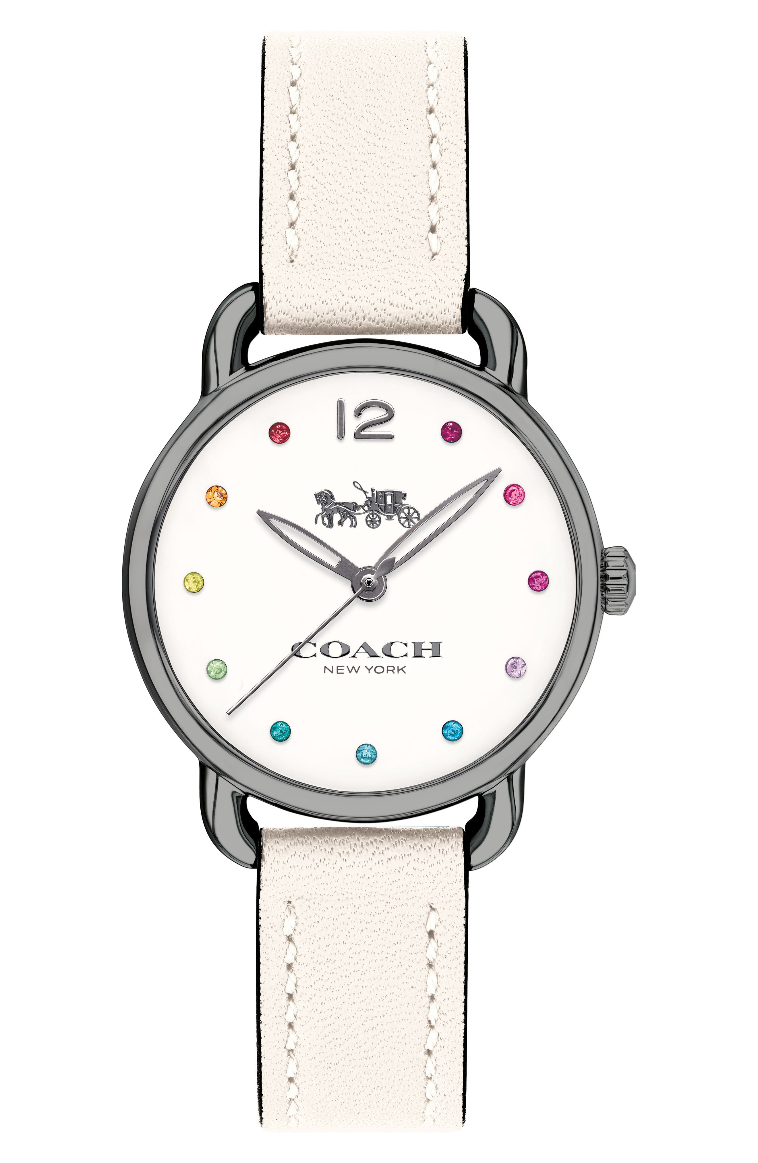 Delancey Crystal Accent Leather Strap Watch, 28mm,                         Main,                         color, White/ Gun Metal