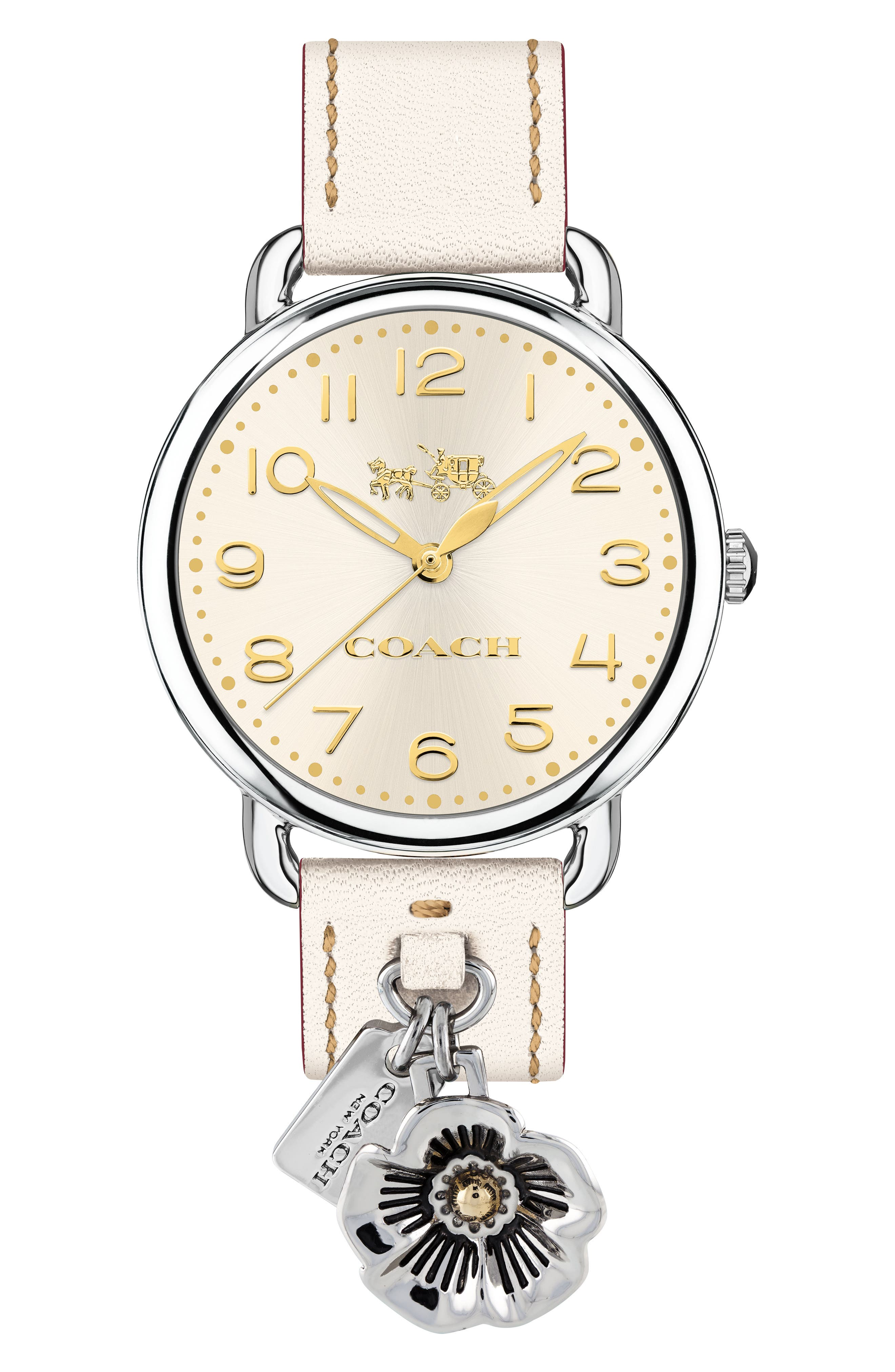 Delancey Charm Detail Leather Strap Watch, 36mm,                         Main,                         color, White/ Silver/ Gold