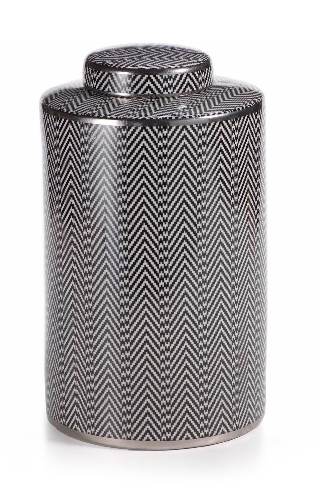 Large Matiss Decorative Jar,                             Main thumbnail 1, color,                             Black/ White