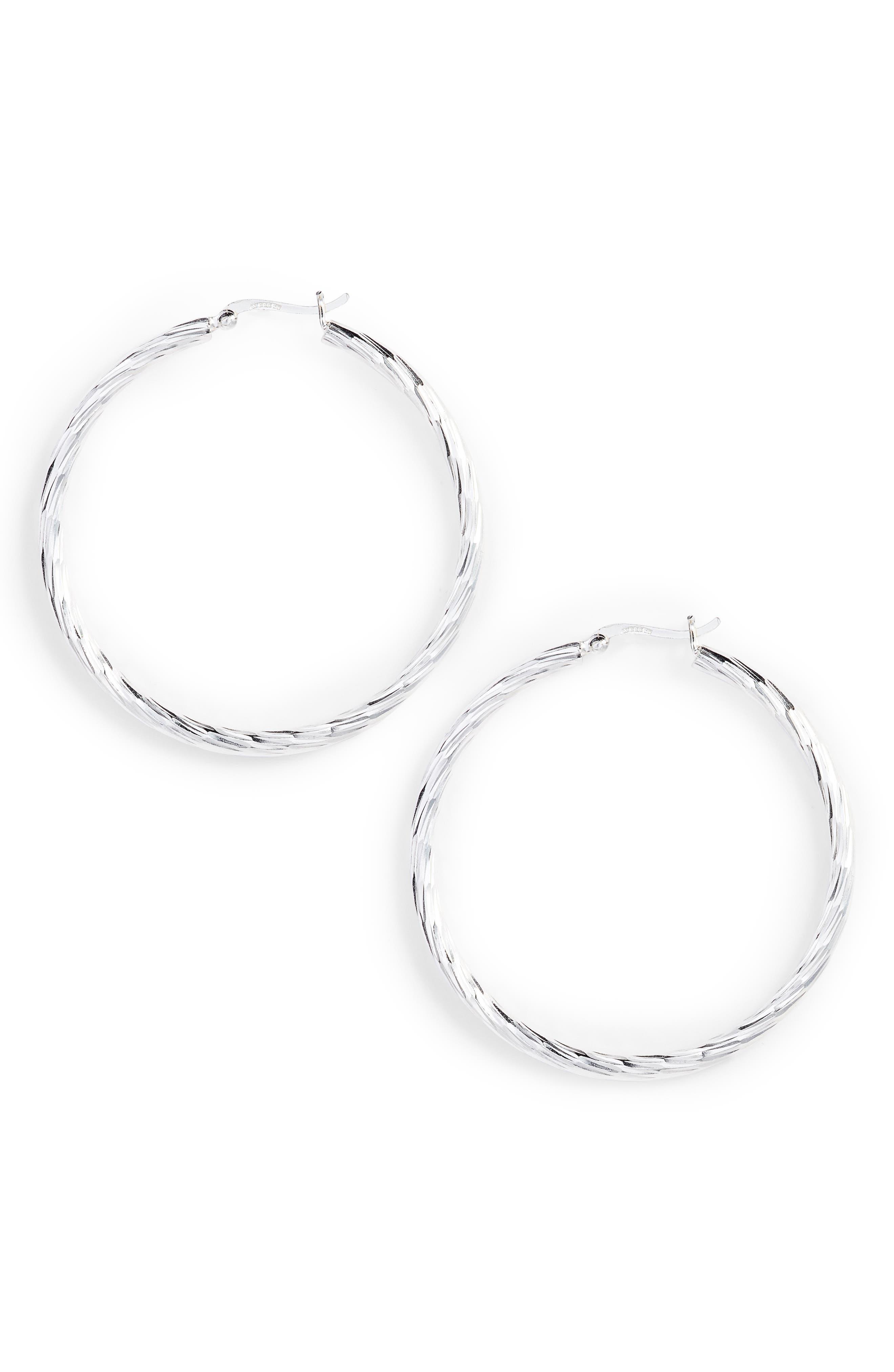 Argento Vivo Textured Hoop Earrings