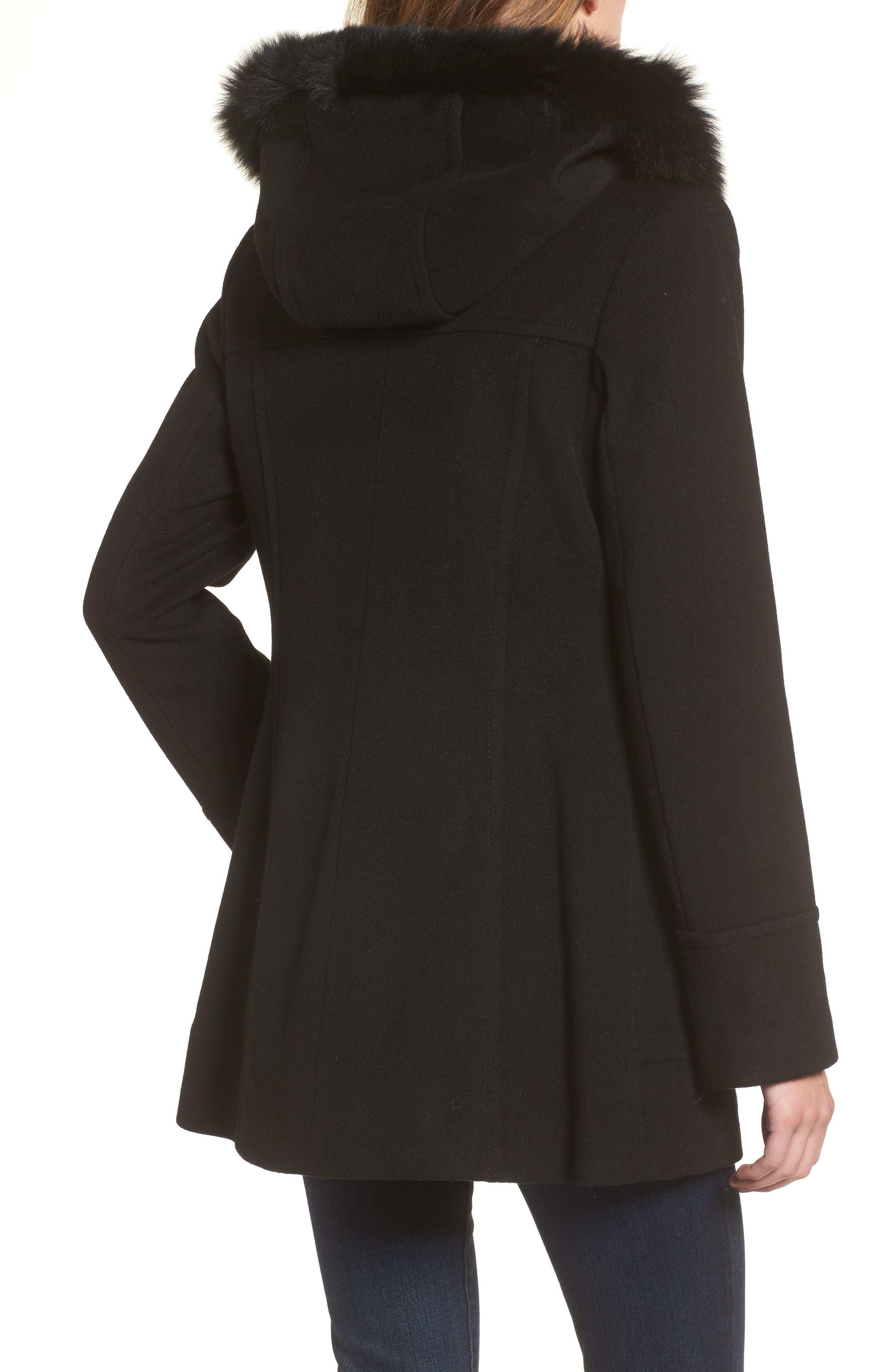 Hooded Wool Blend Coat with Genuine Fox Fur Trim,                             Alternate thumbnail 2, color,                             Black