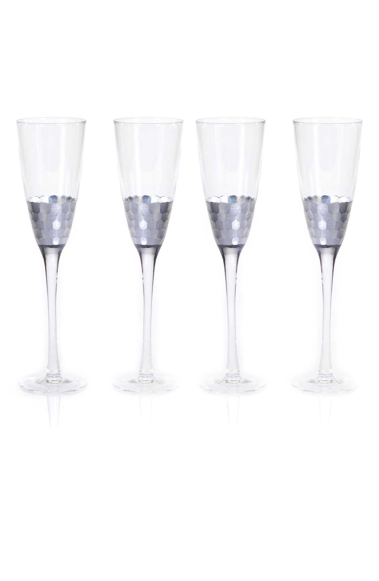 Vitorrio Set of 4 Champagne Flutes,                             Main thumbnail 1, color,                             Silver