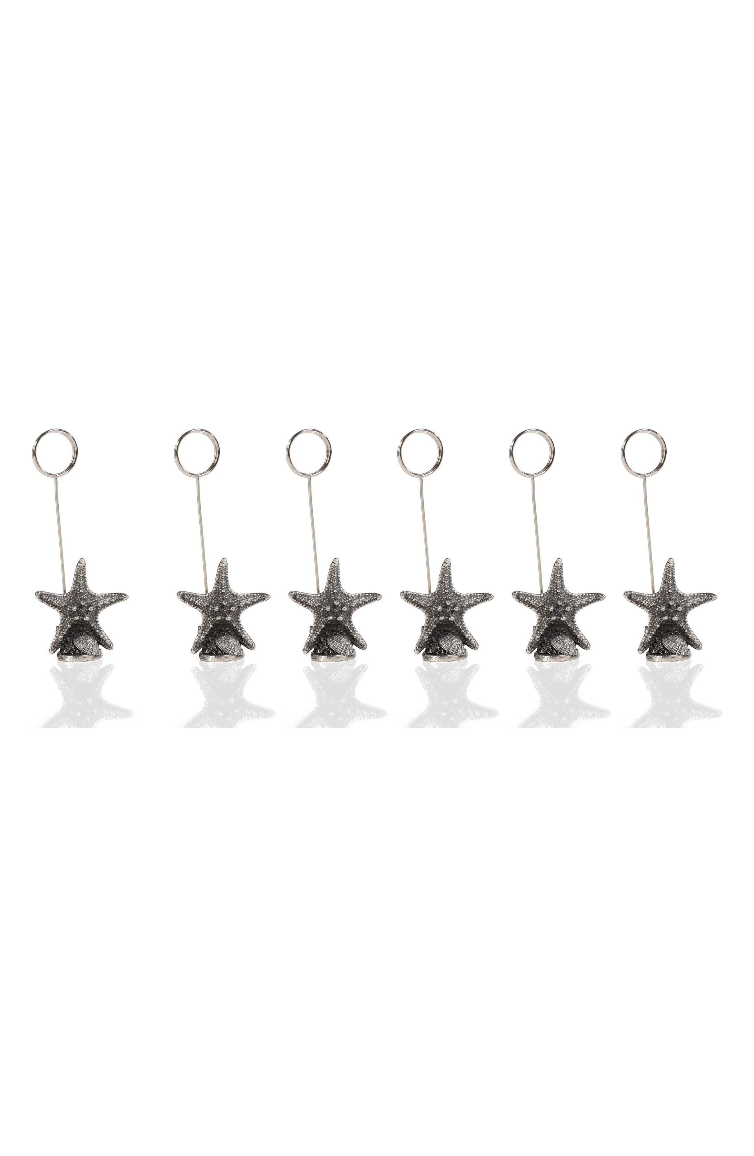 Set of 6 Starfish Name Card Holders,                             Main thumbnail 1, color,                             Grey/ Silver