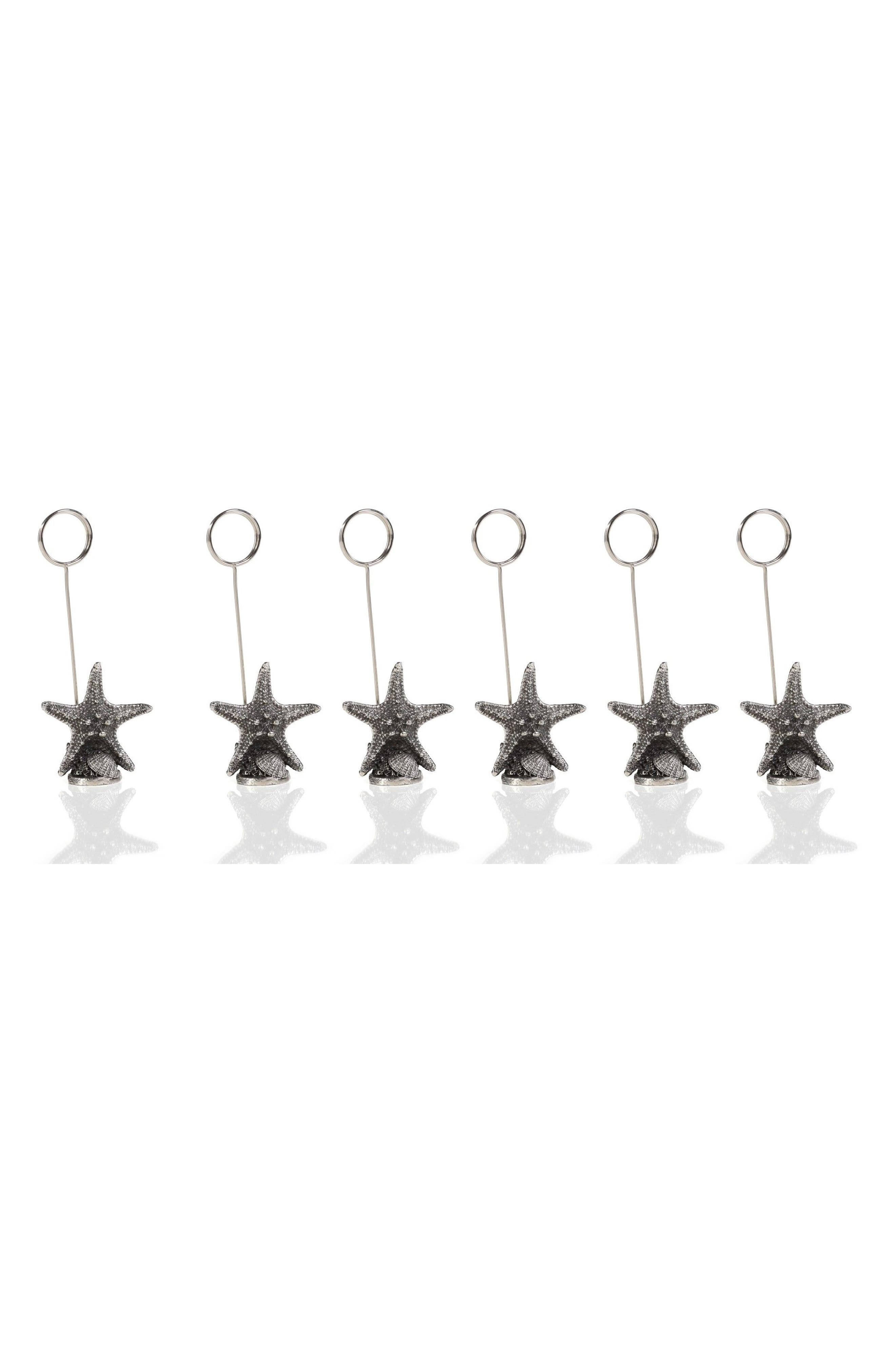 Set of 6 Starfish Name Card Holders,                         Main,                         color, Grey/ Silver