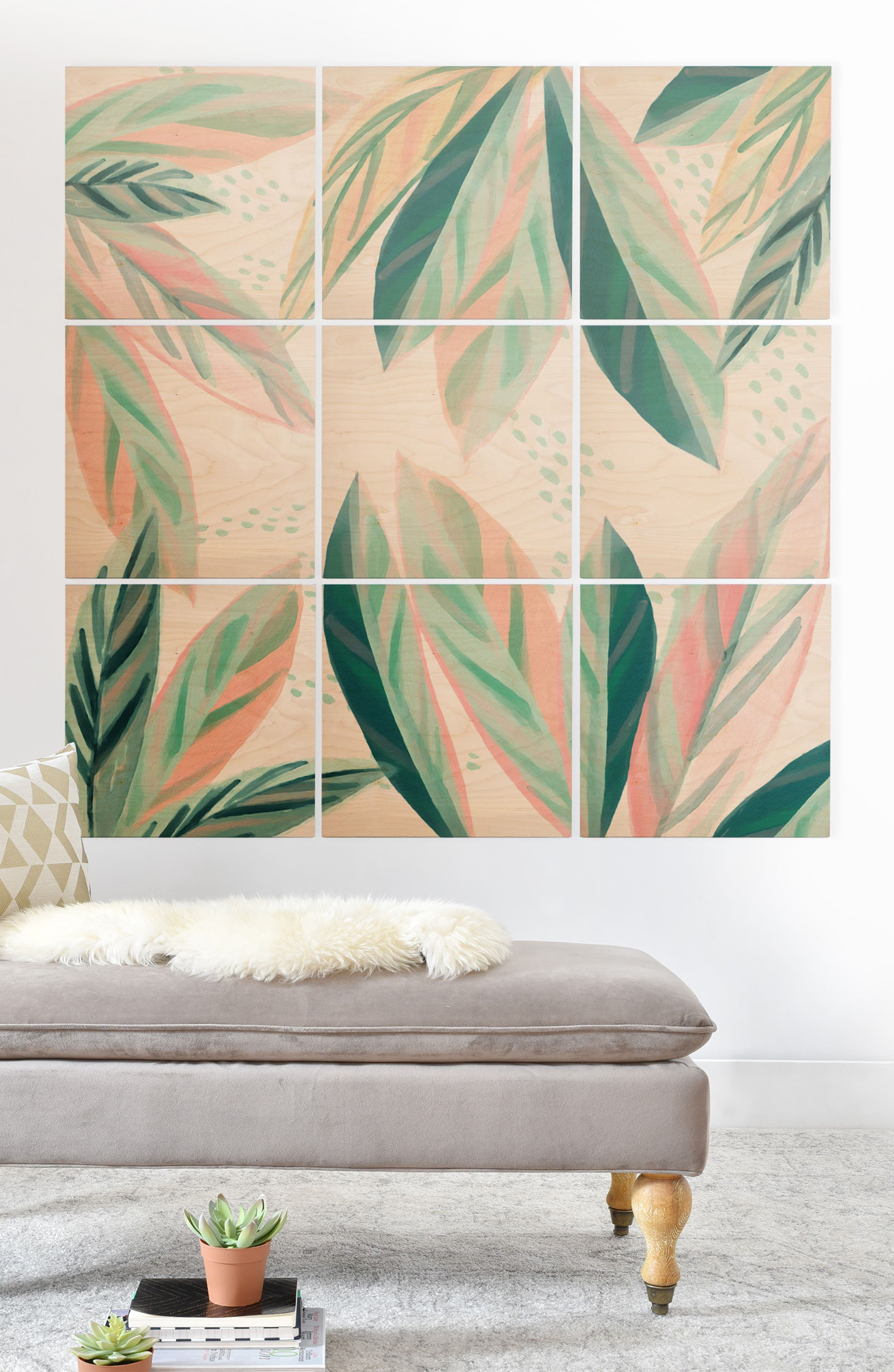 Painterly Palms 9-Piece Wood Wall Mural,                             Alternate thumbnail 2, color,                             Pastel Green