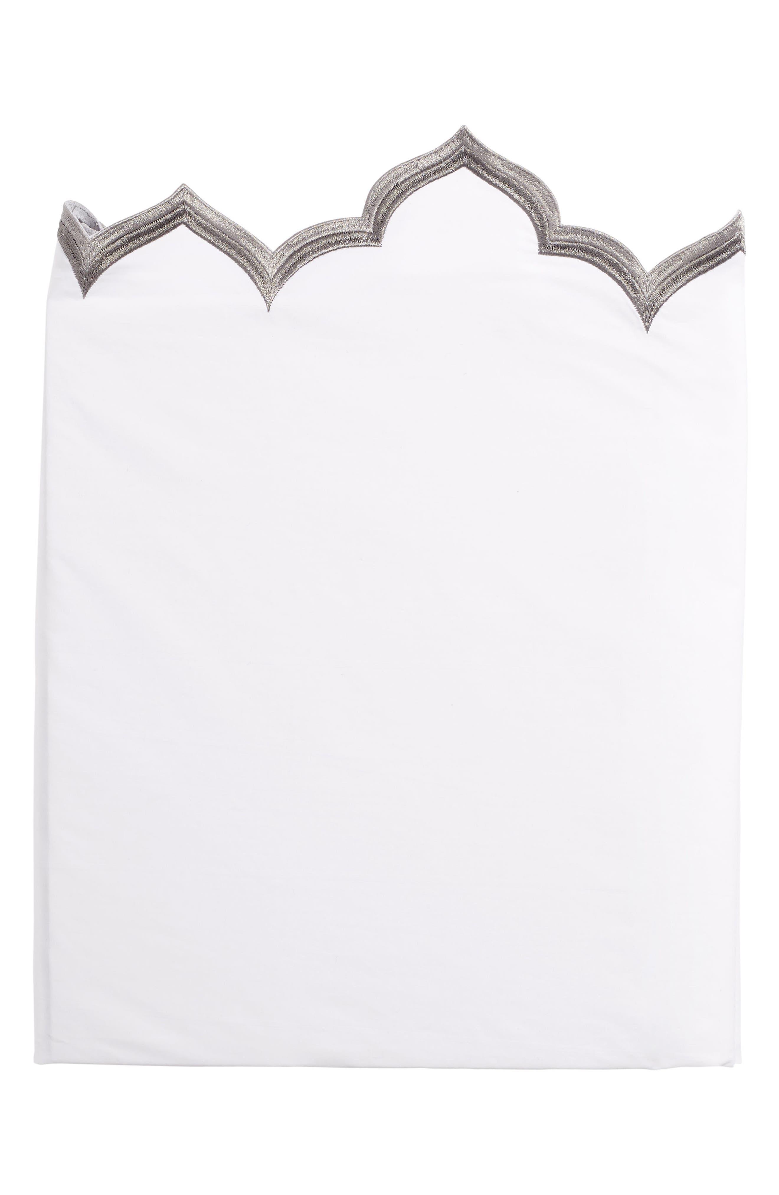 Sakuna 300 Thread Count Flat Sheet,                         Main,                         color, White/ Gray
