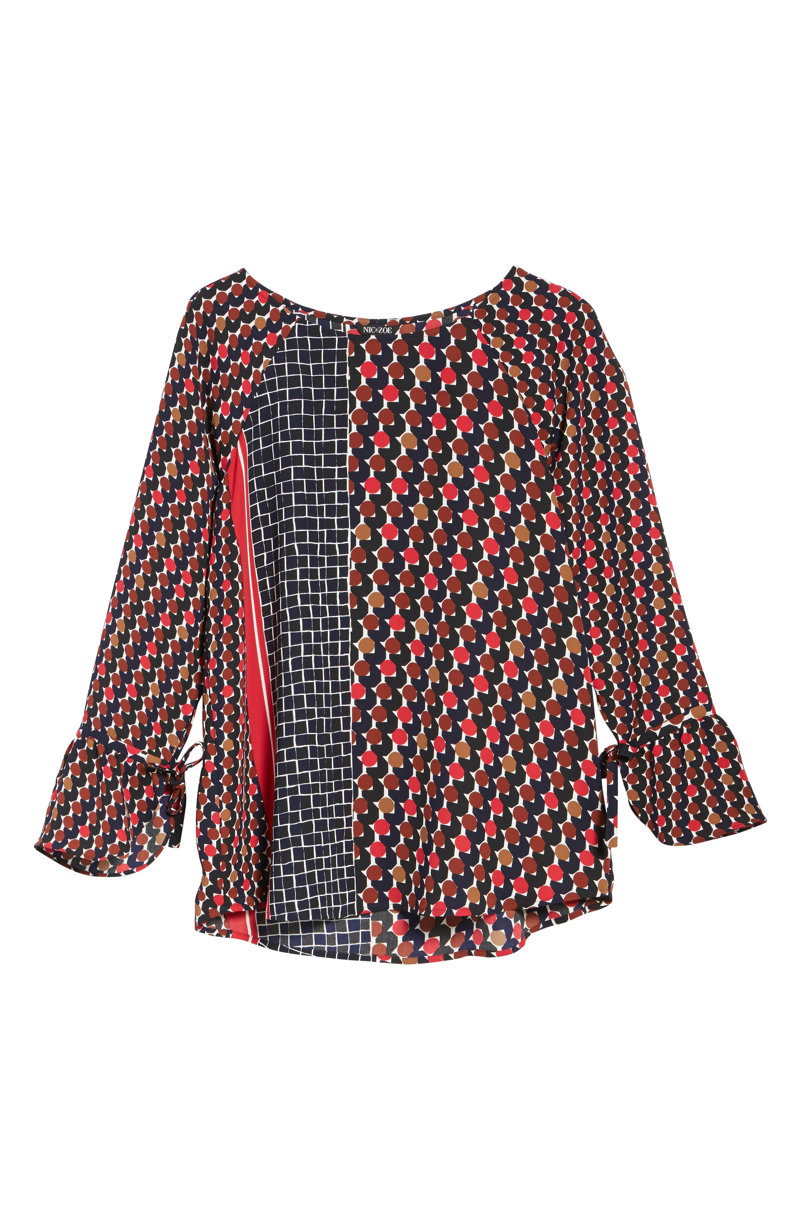Mix Dots Bell Sleeve Top,                             Alternate thumbnail 6, color,                             Red Multi
