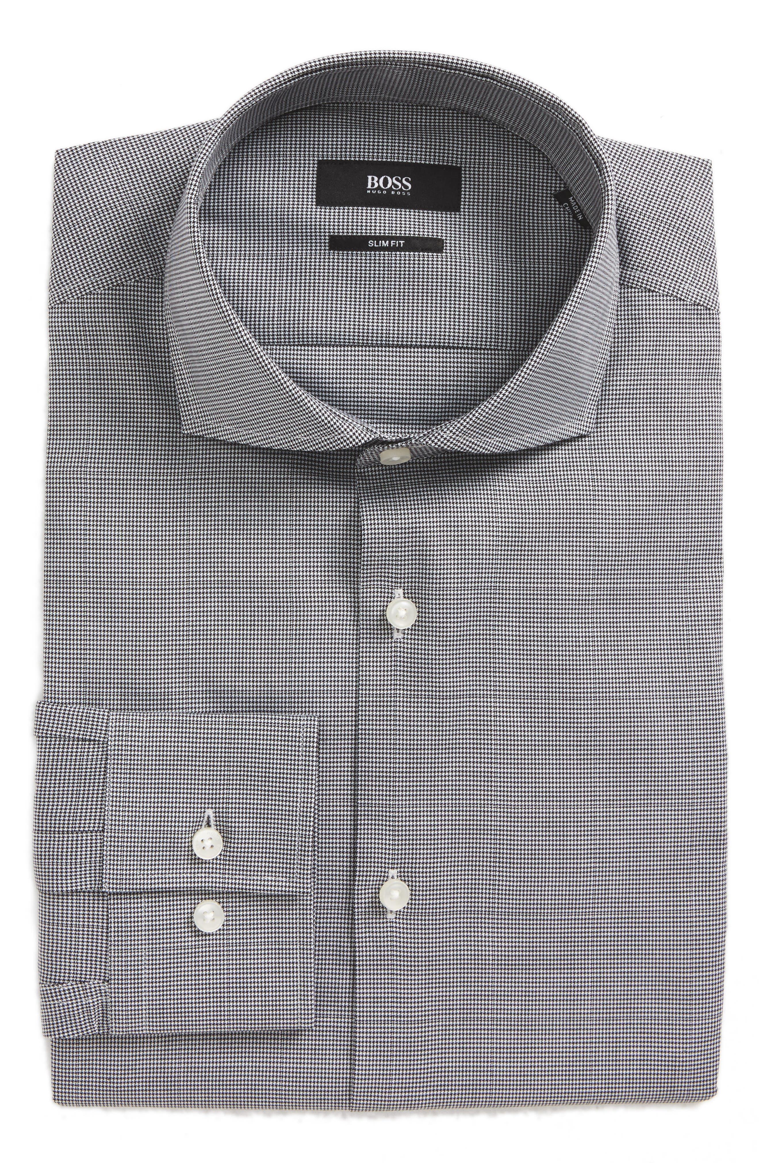 BOSS Jason Slim Fit Houndstooth Dress Shirt
