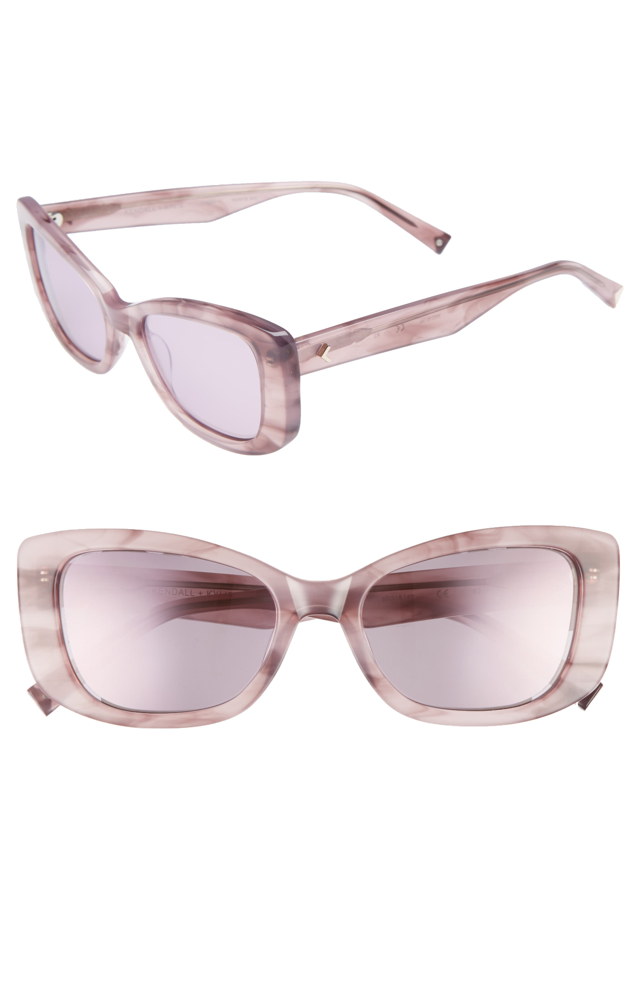 53mm Cat Eye Sunglasses,                             Main thumbnail 1, color,                             Rose Horn