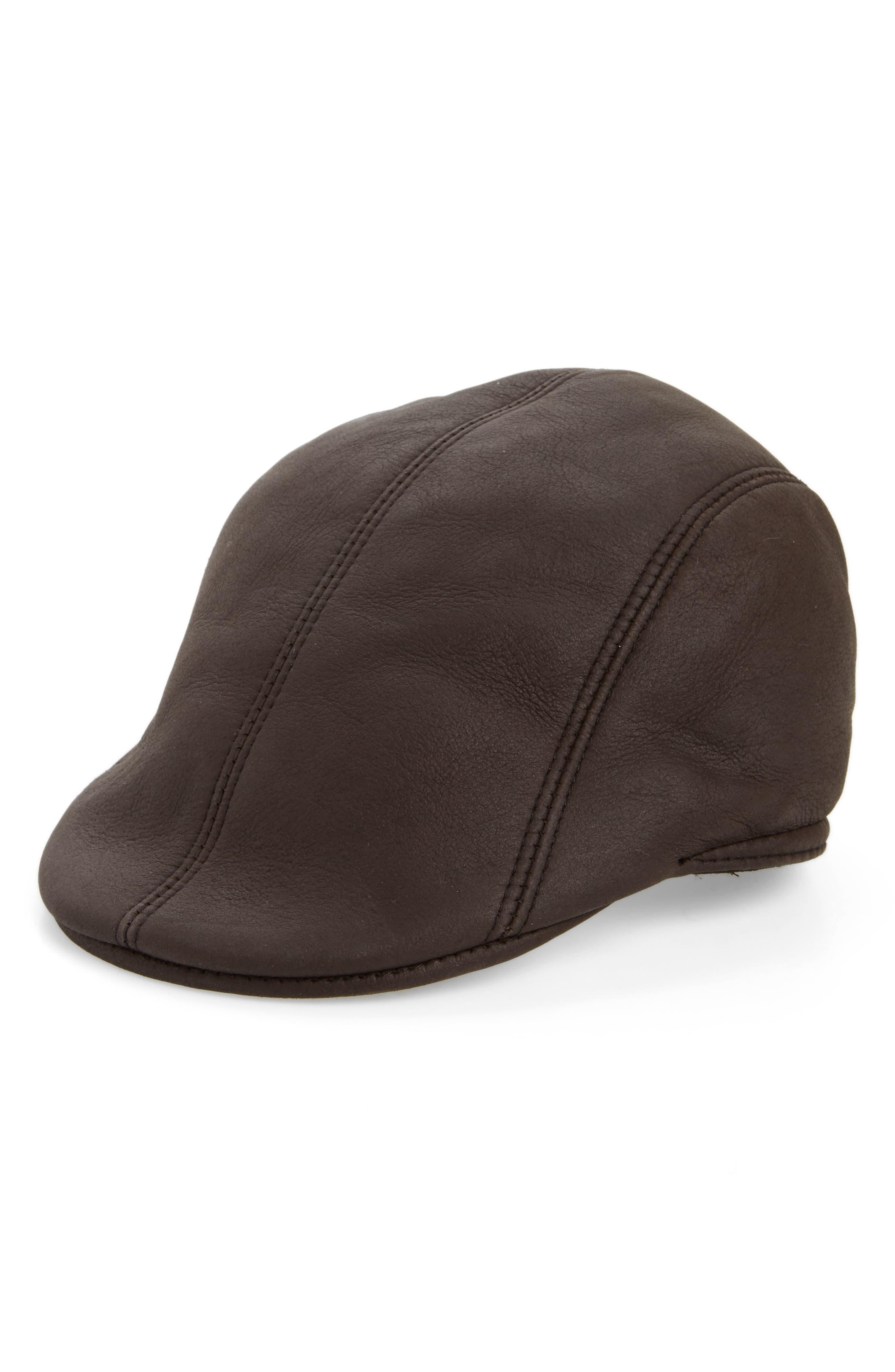 Main Image - Crown Cap Genuine Shearling Leather Driving Cap