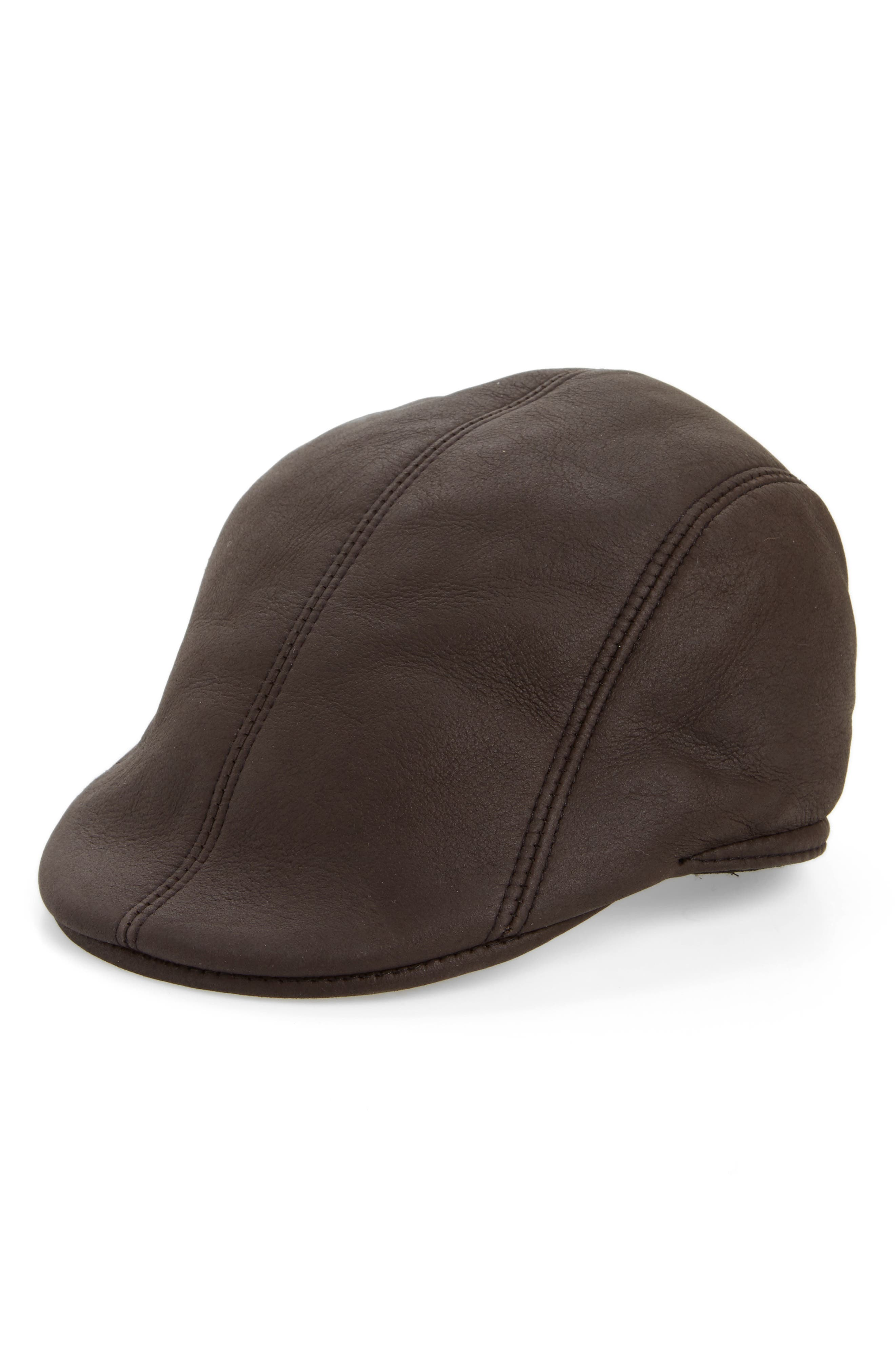 Genuine Shearling Leather Driving Cap,                         Main,                         color, Brown