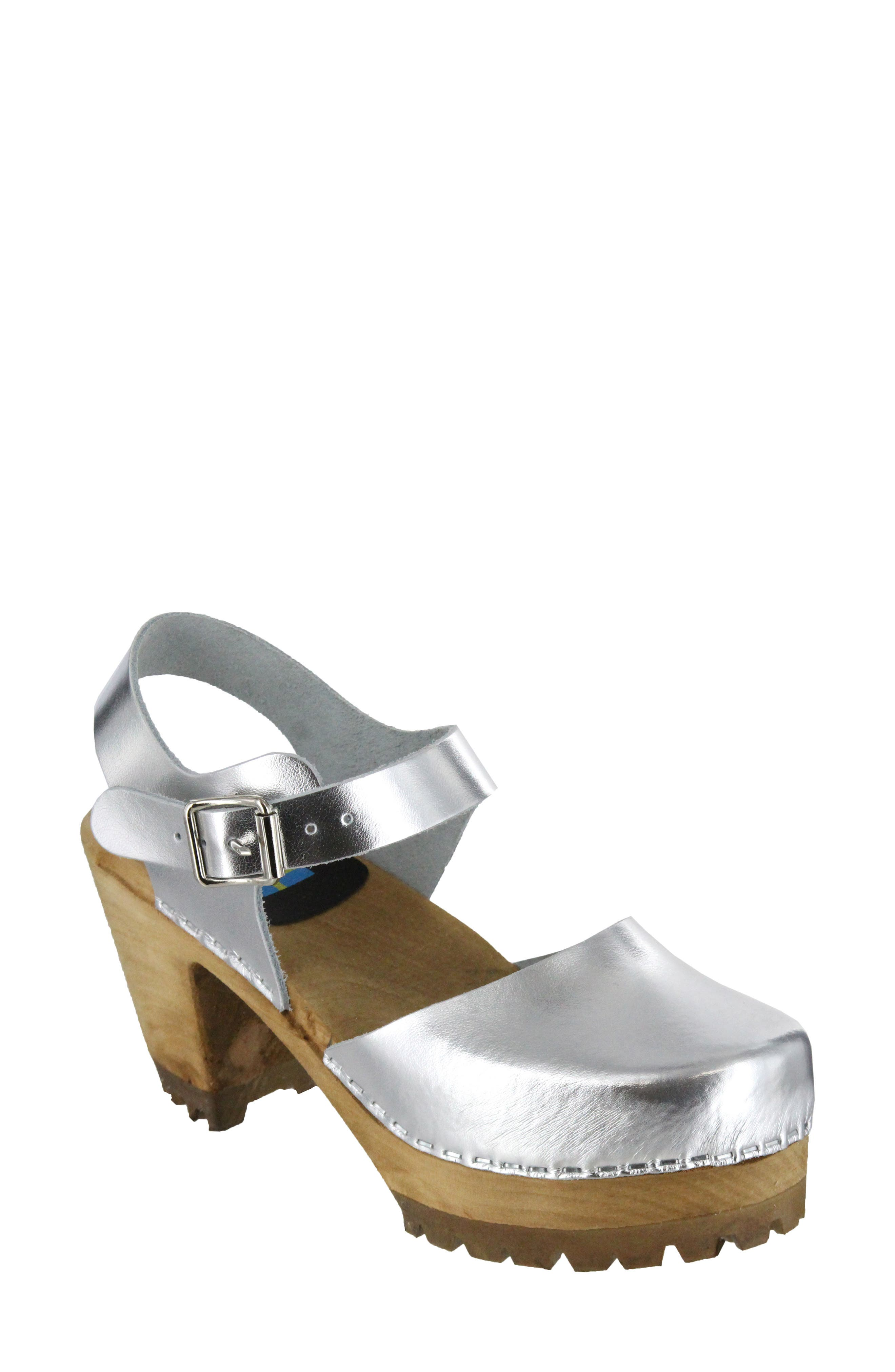 Abba Sandal,                         Main,                         color, Silver Leather
