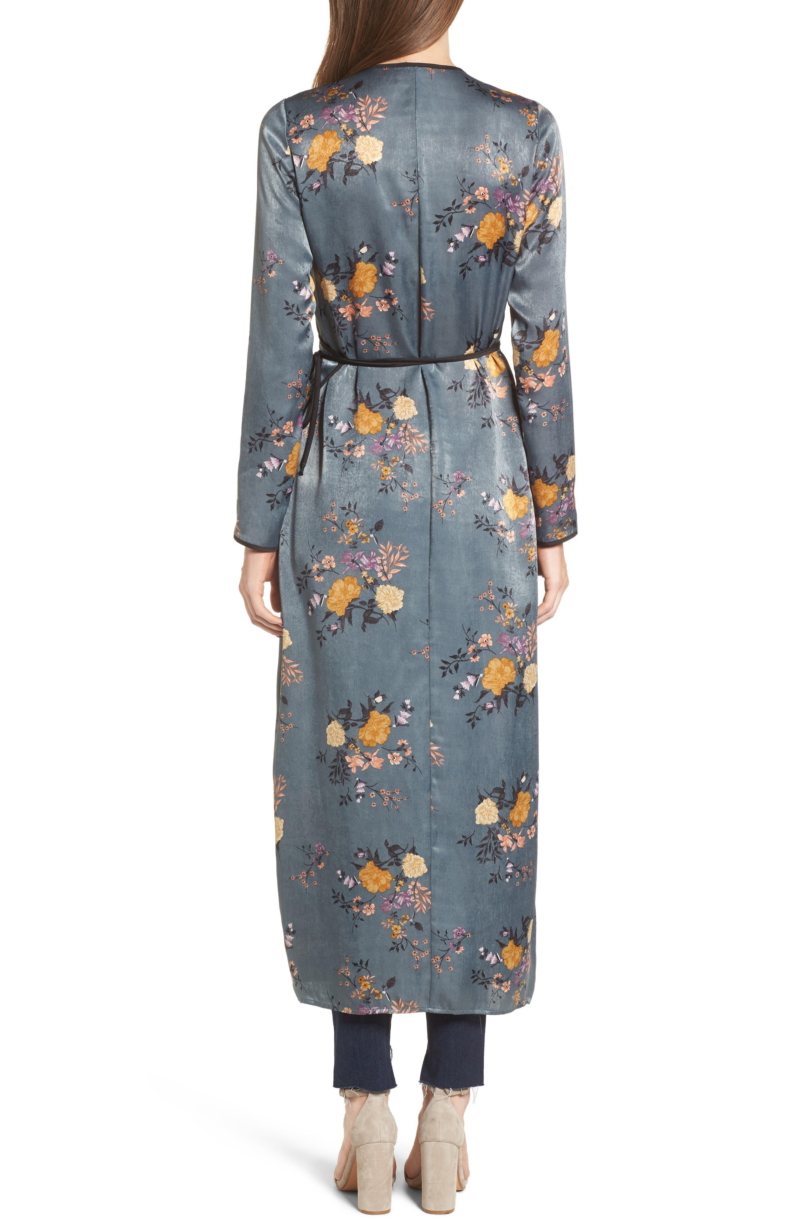 Satin Wrap Kimono,                             Alternate thumbnail 2, color,                             Storm Blue Print