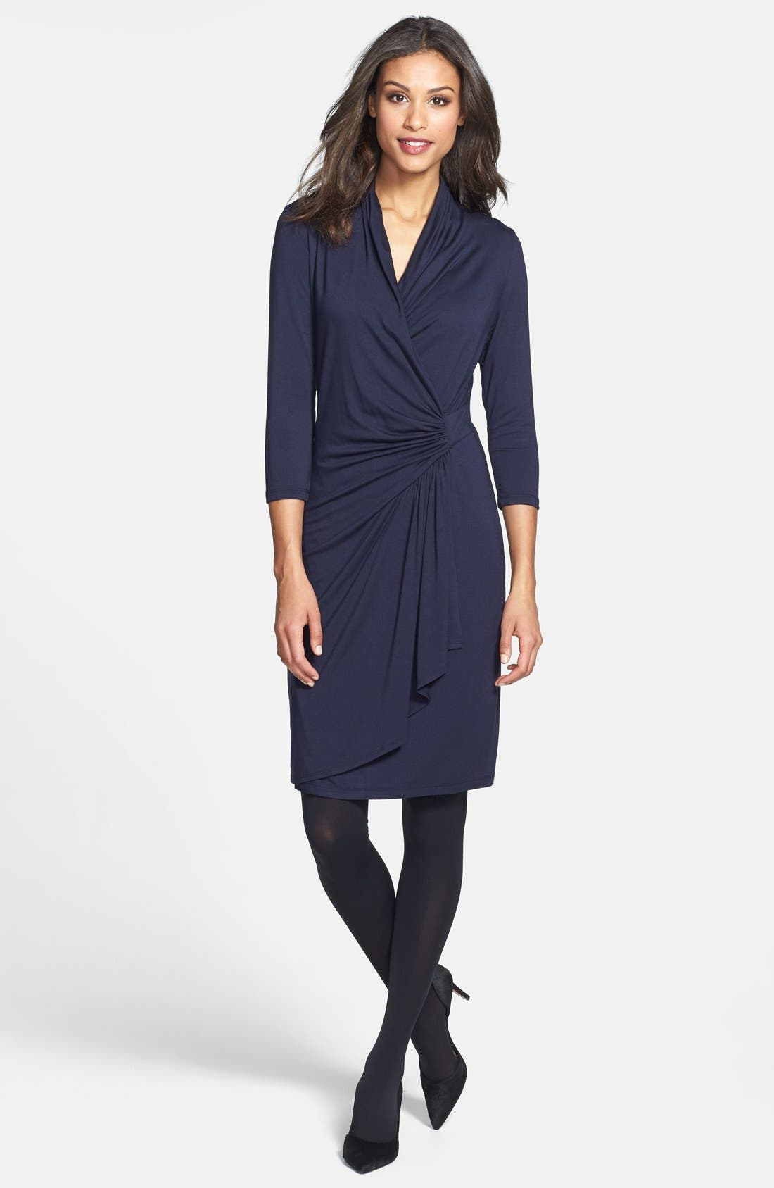 Alternate Image 3  - Karen Kane Cascade Faux Wrap Dress (Regular & Petite)