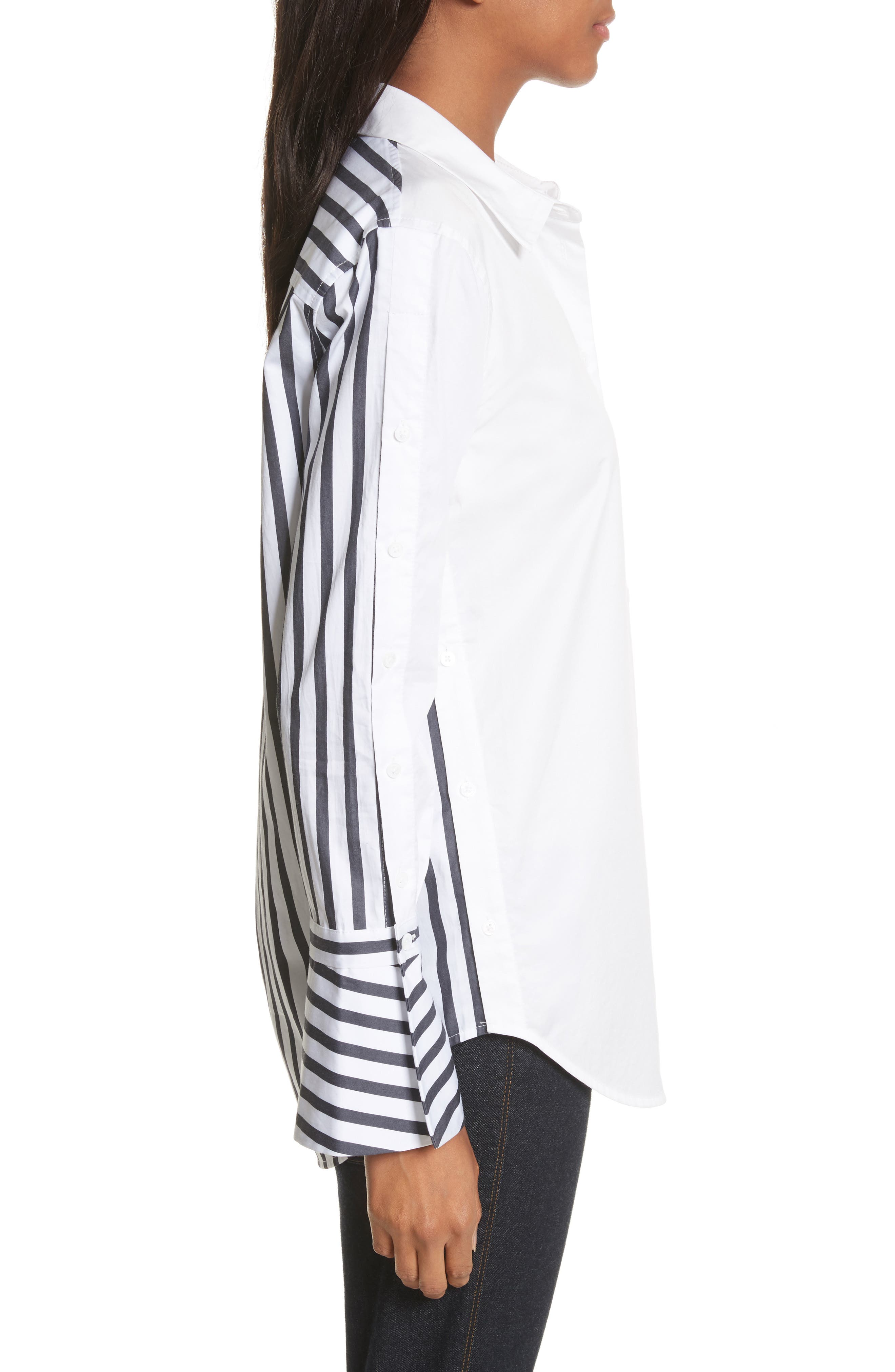 Rossi Contrast Stripe Button Down Shirt,                             Alternate thumbnail 3, color,                             Bright White/ Eclipse