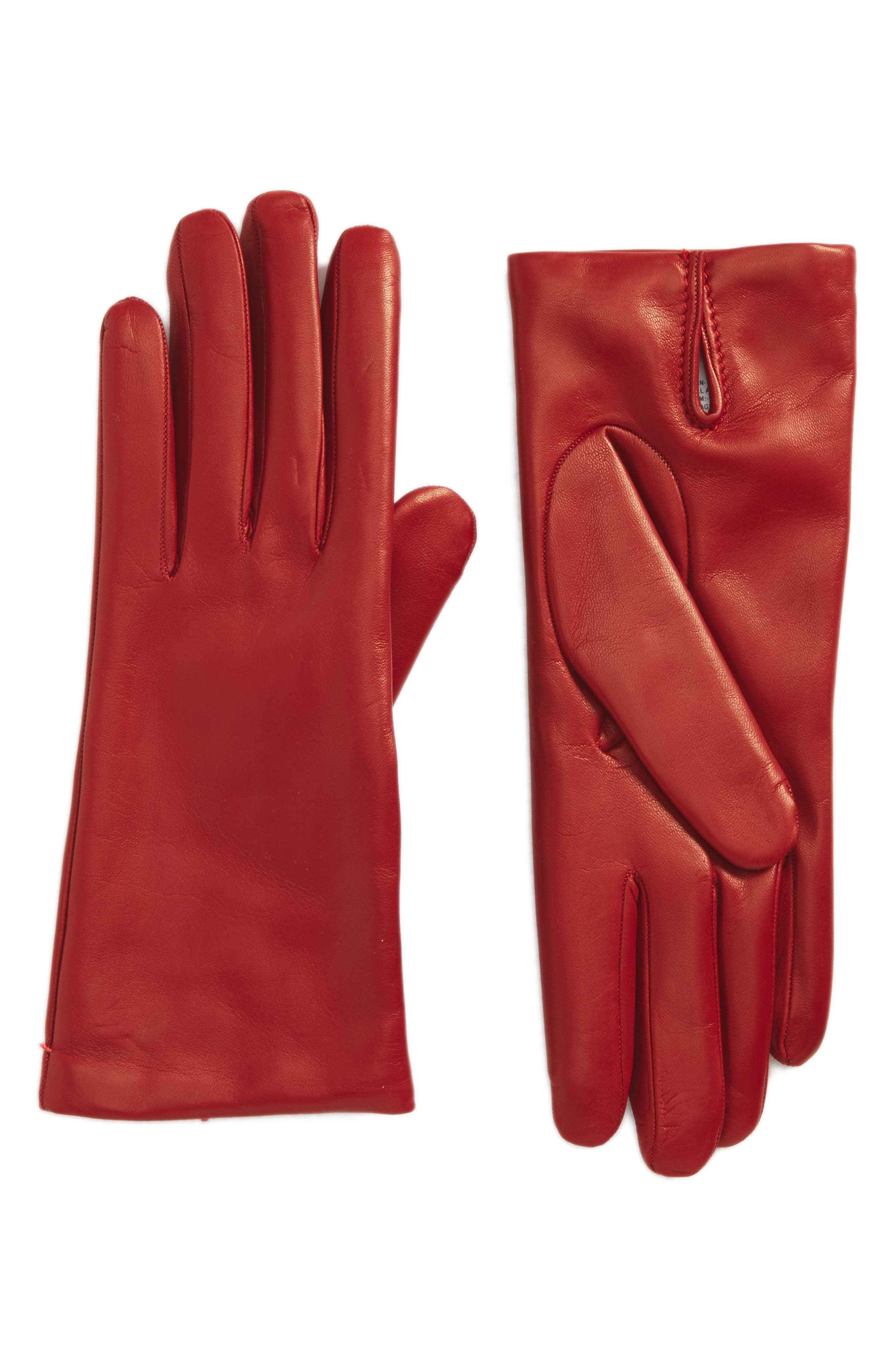 Ragusa Leather Gloves,                             Main thumbnail 1, color,                             Red