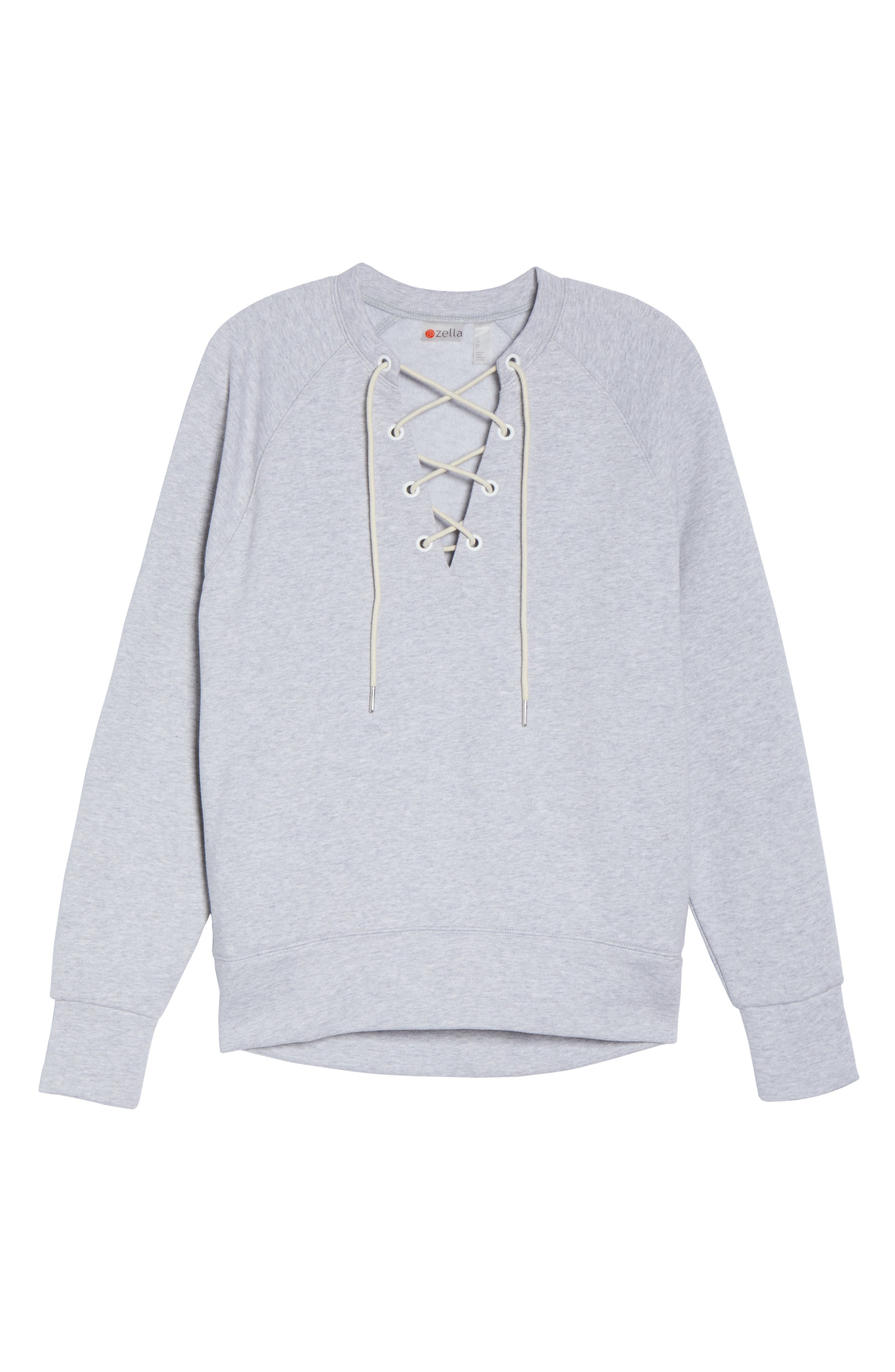 Lace-Up Pullover,                             Alternate thumbnail 7, color,                             Grey Ash Heather