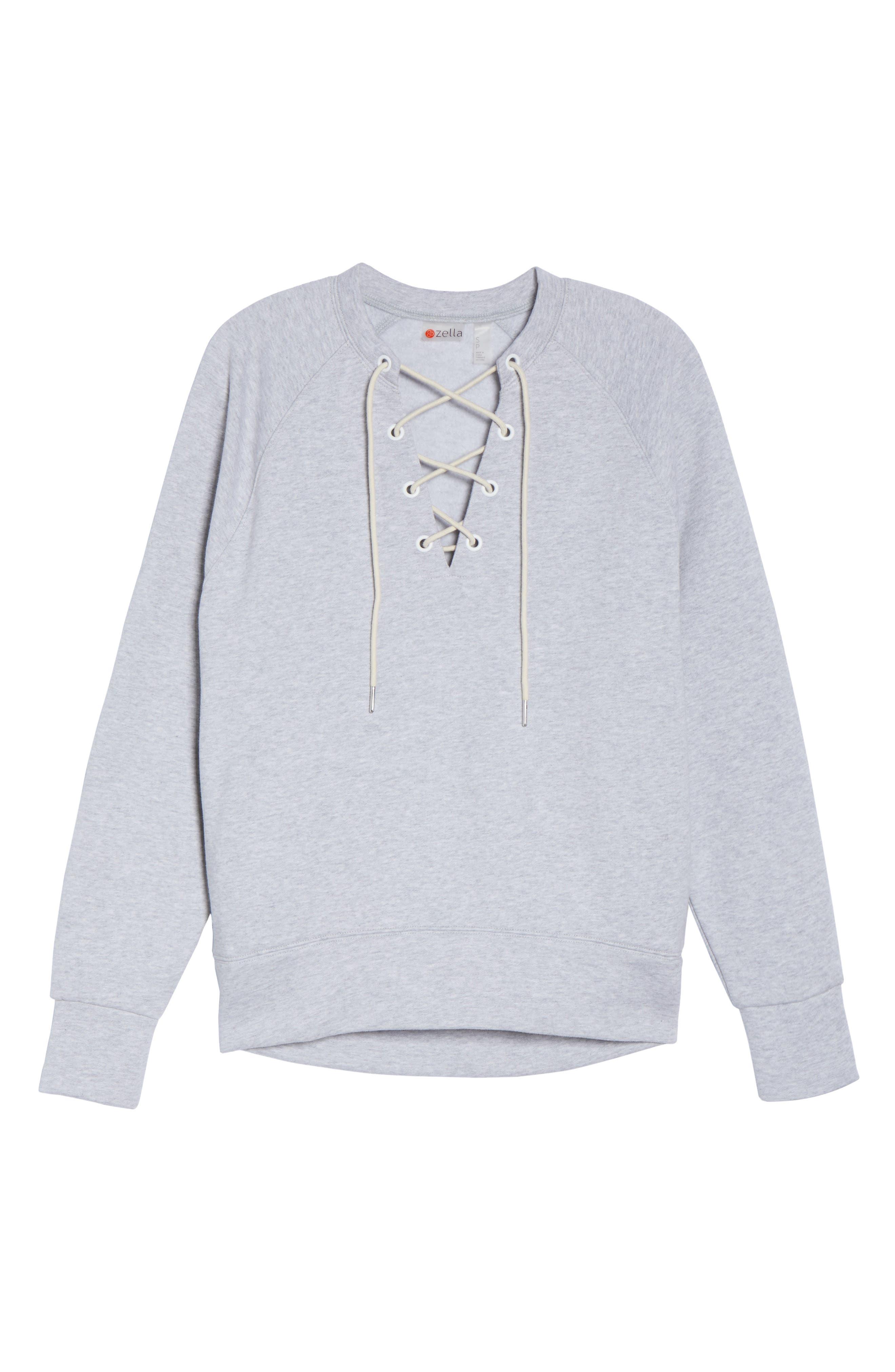 Alternate Image 6  - Zella Lace-Up Pullover