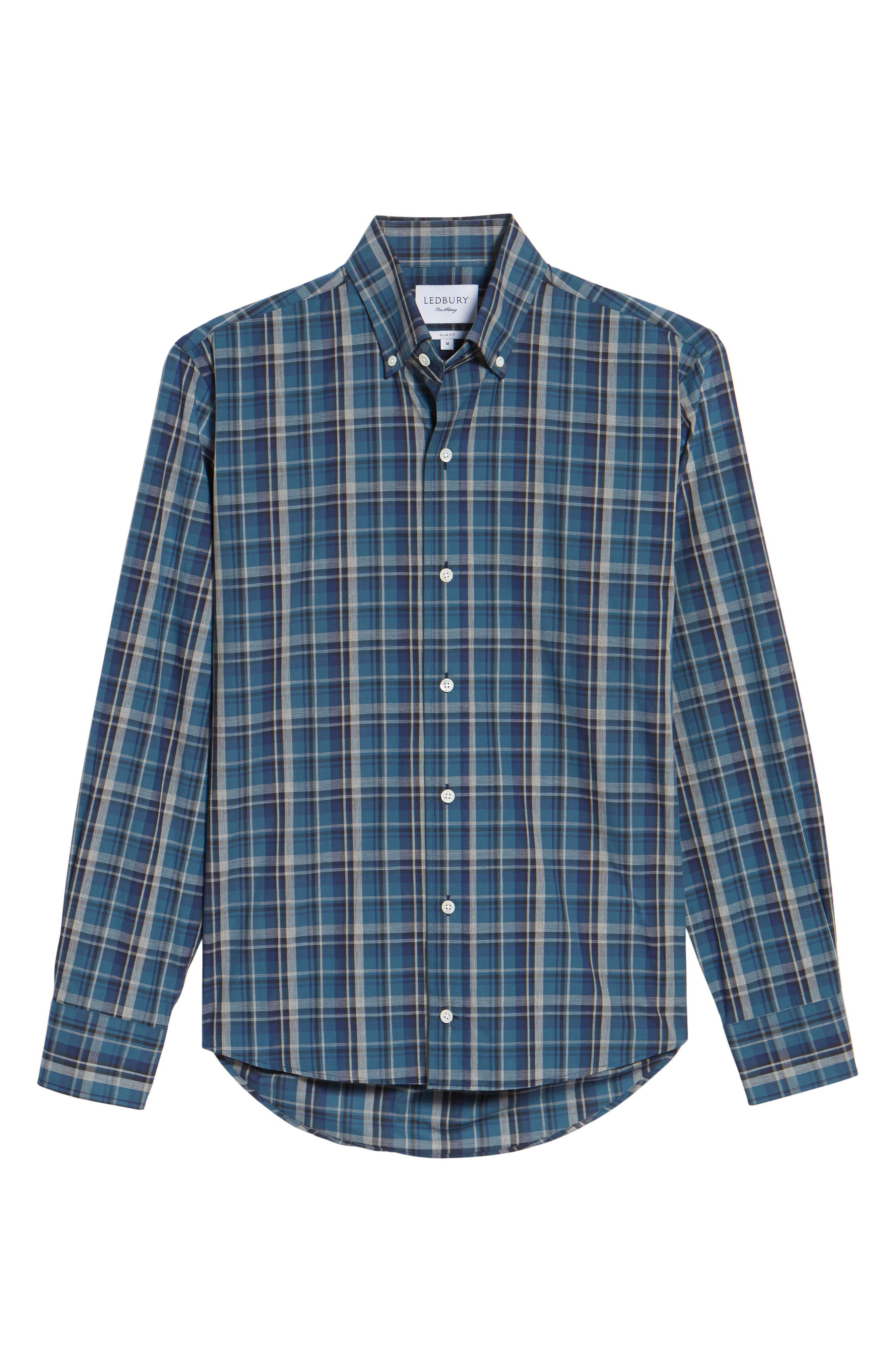 Slim Fit Plaid Sport Shirt,                             Alternate thumbnail 6, color,                             Dark Blue