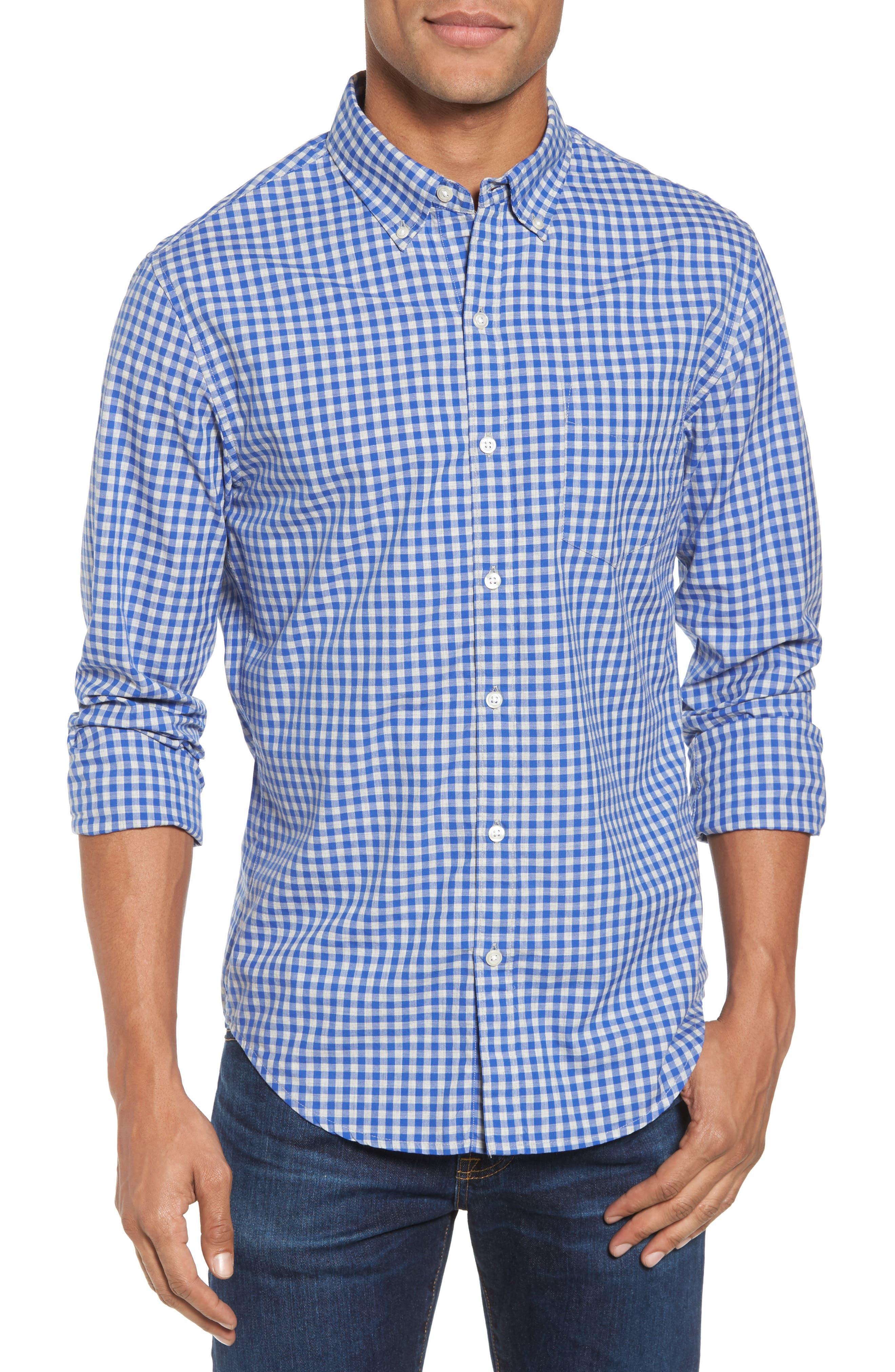 Slim Fit Washed Check Sport Shirt,                         Main,                         color, Blue Saga Gingham