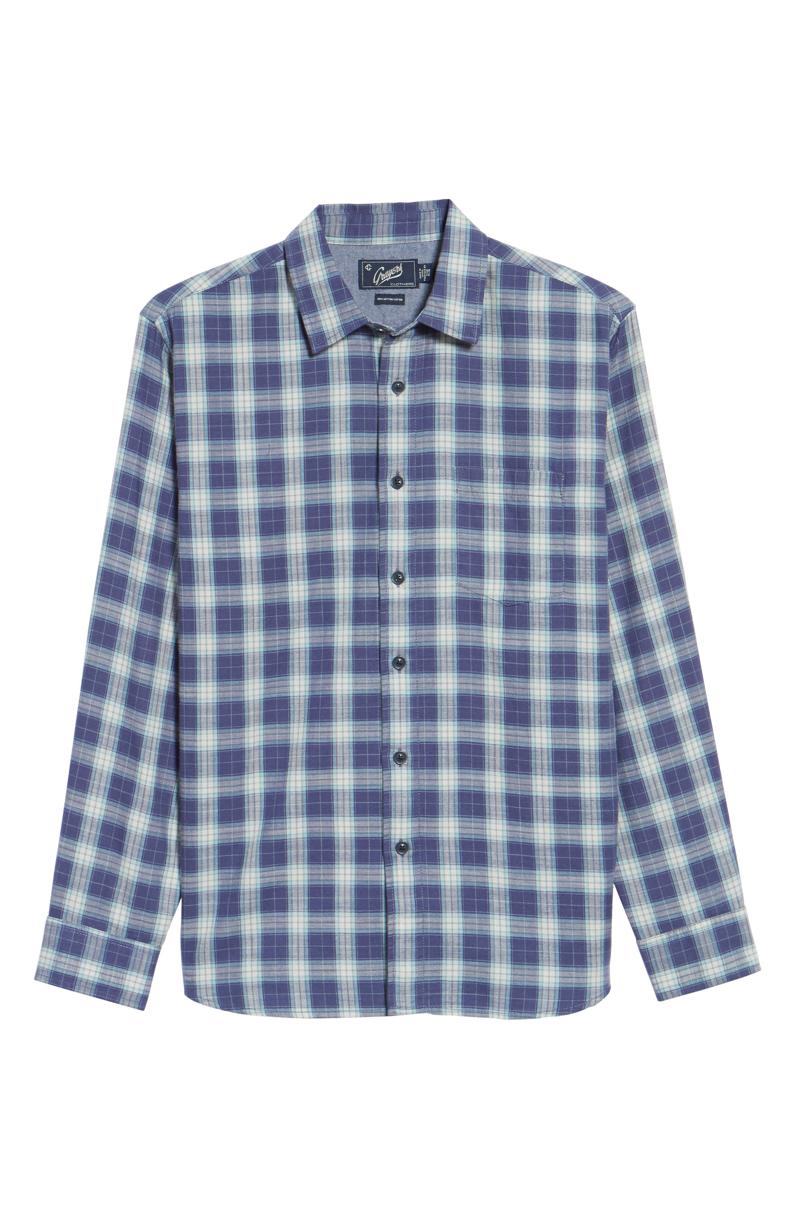 Walden Slim Fit Plaid Slub Twill Sport Shirt,                             Alternate thumbnail 6, color,                             Seafoam