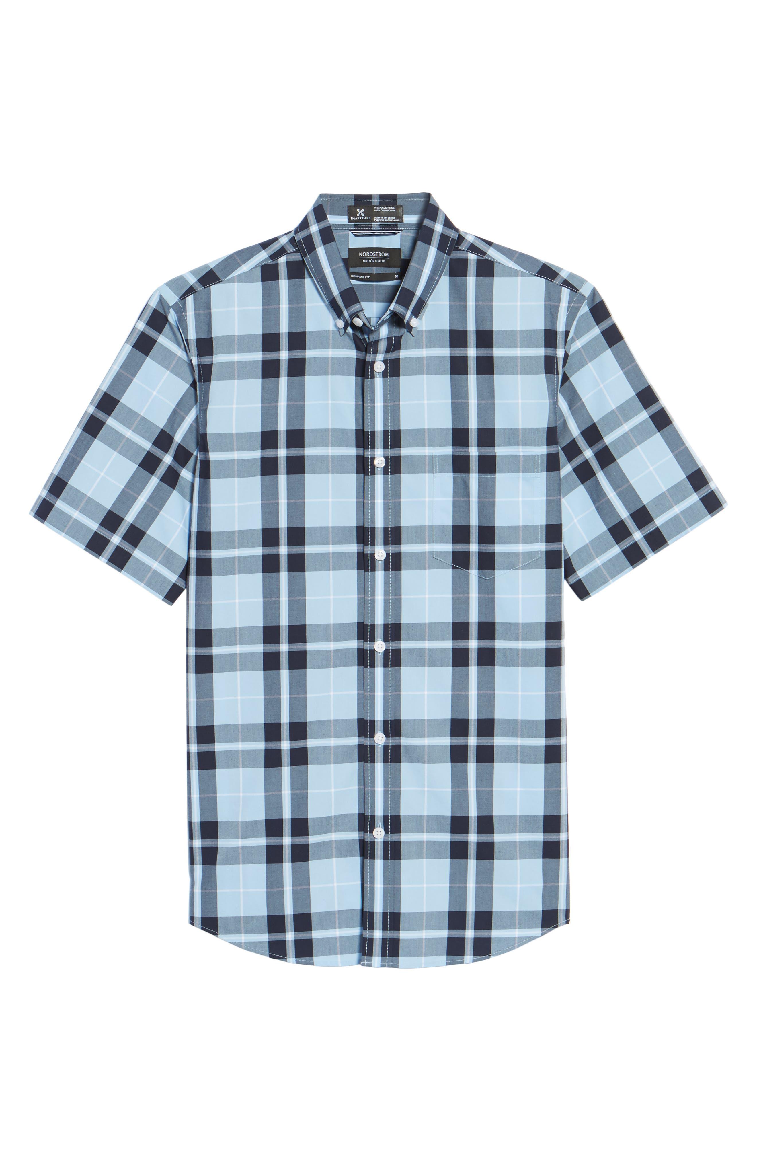 Plaid Sport Shirt,                             Alternate thumbnail 6, color,                             Blue Heather Large Plaid