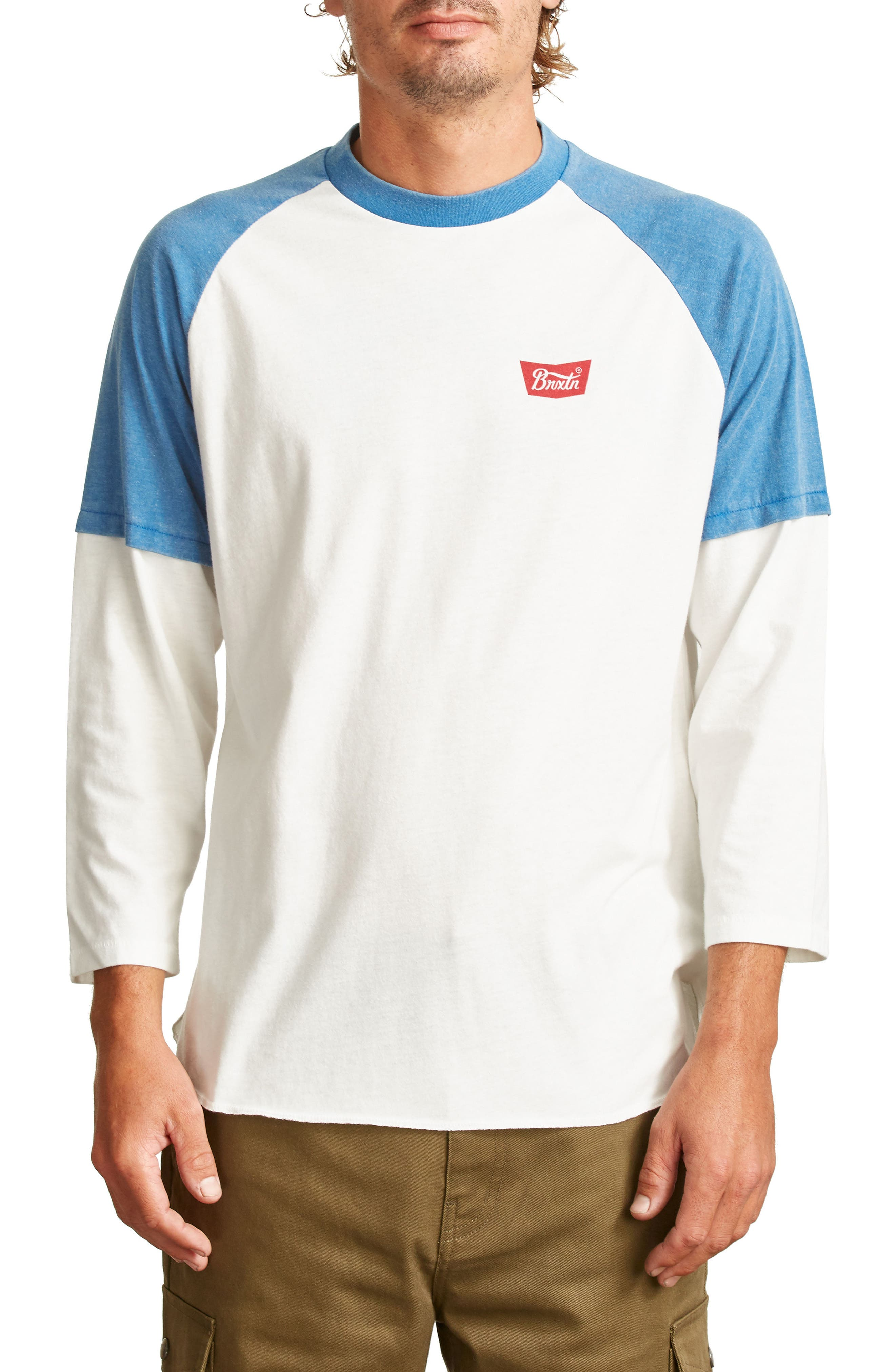 Layer Look Baseball T-Shirt,                         Main,                         color, Off White