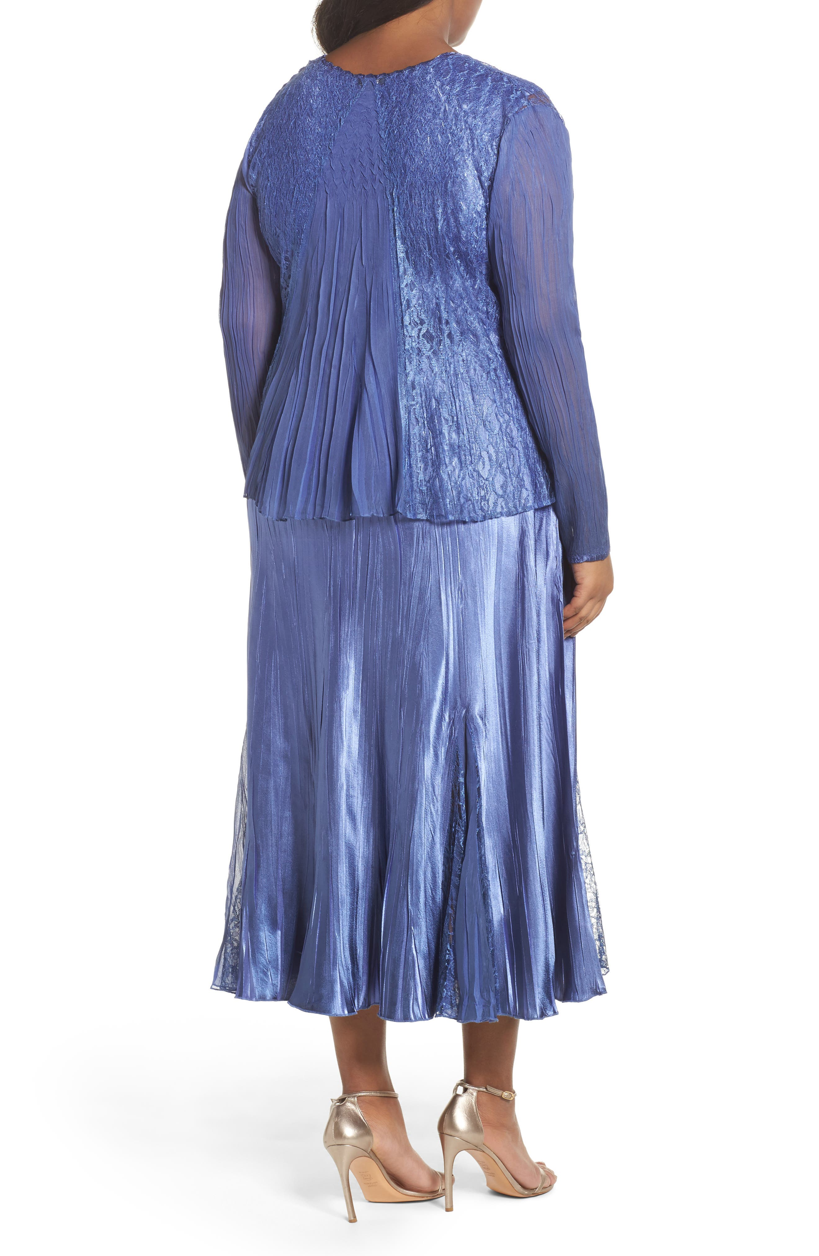 Lace Inset Charmeuse Dress with Chiffon Jacket,                             Alternate thumbnail 4, color,                             Blue Ombre