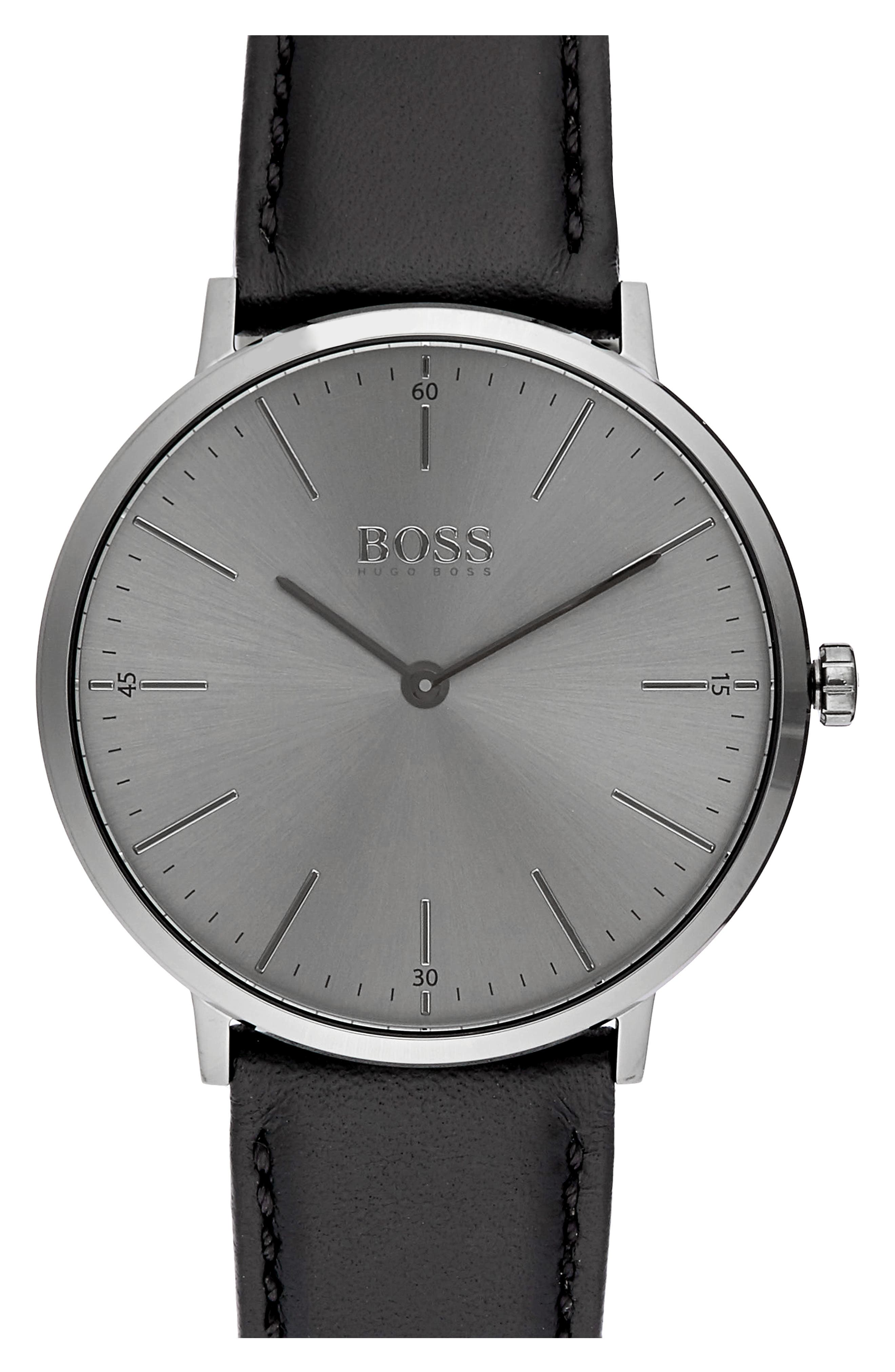 Horizon Leather Strap Watch, 40mm,                         Main,                         color, Grey/ Black