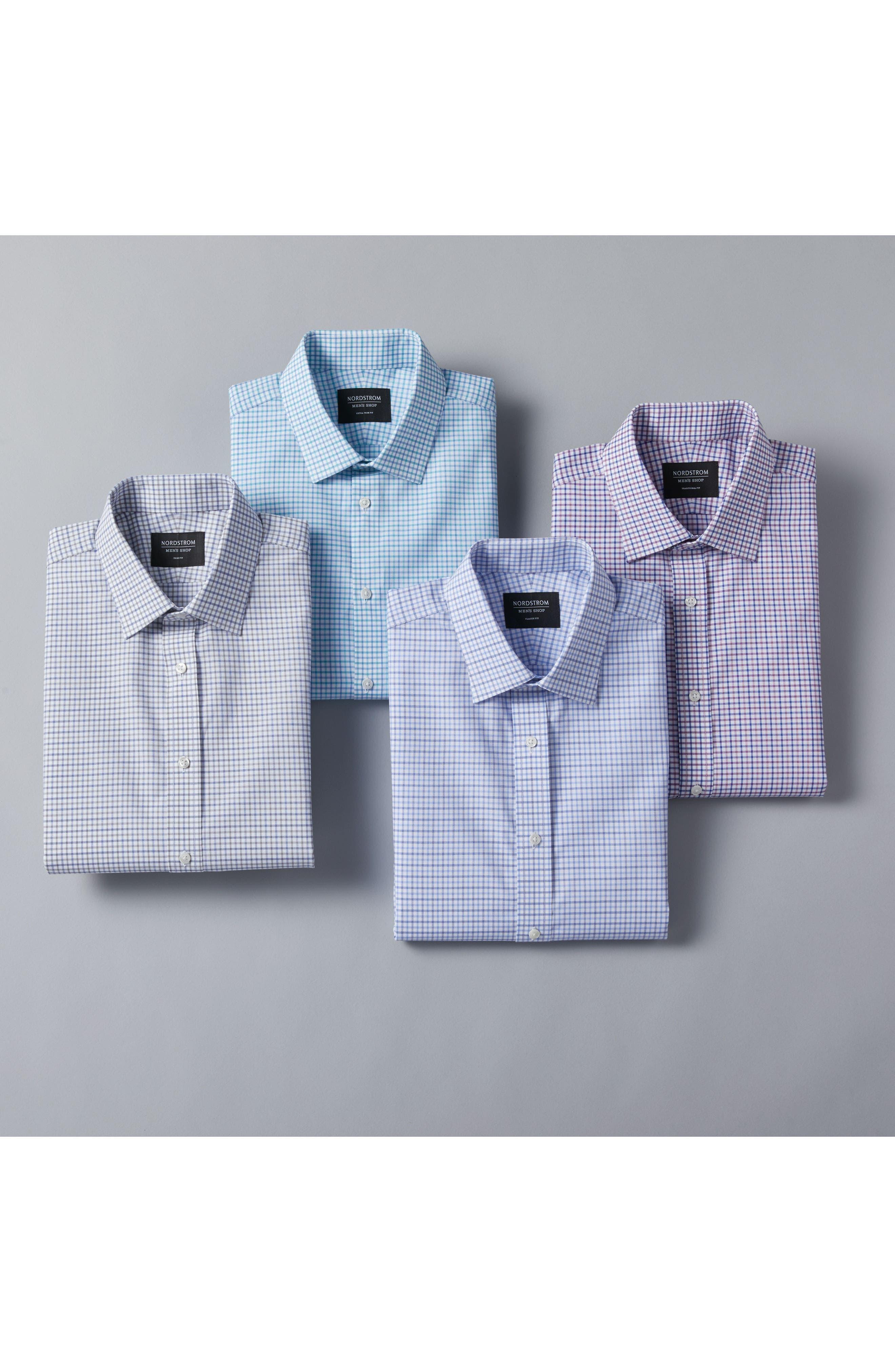 Classic Fit Check Dress Shirt,                             Alternate thumbnail 6, color,