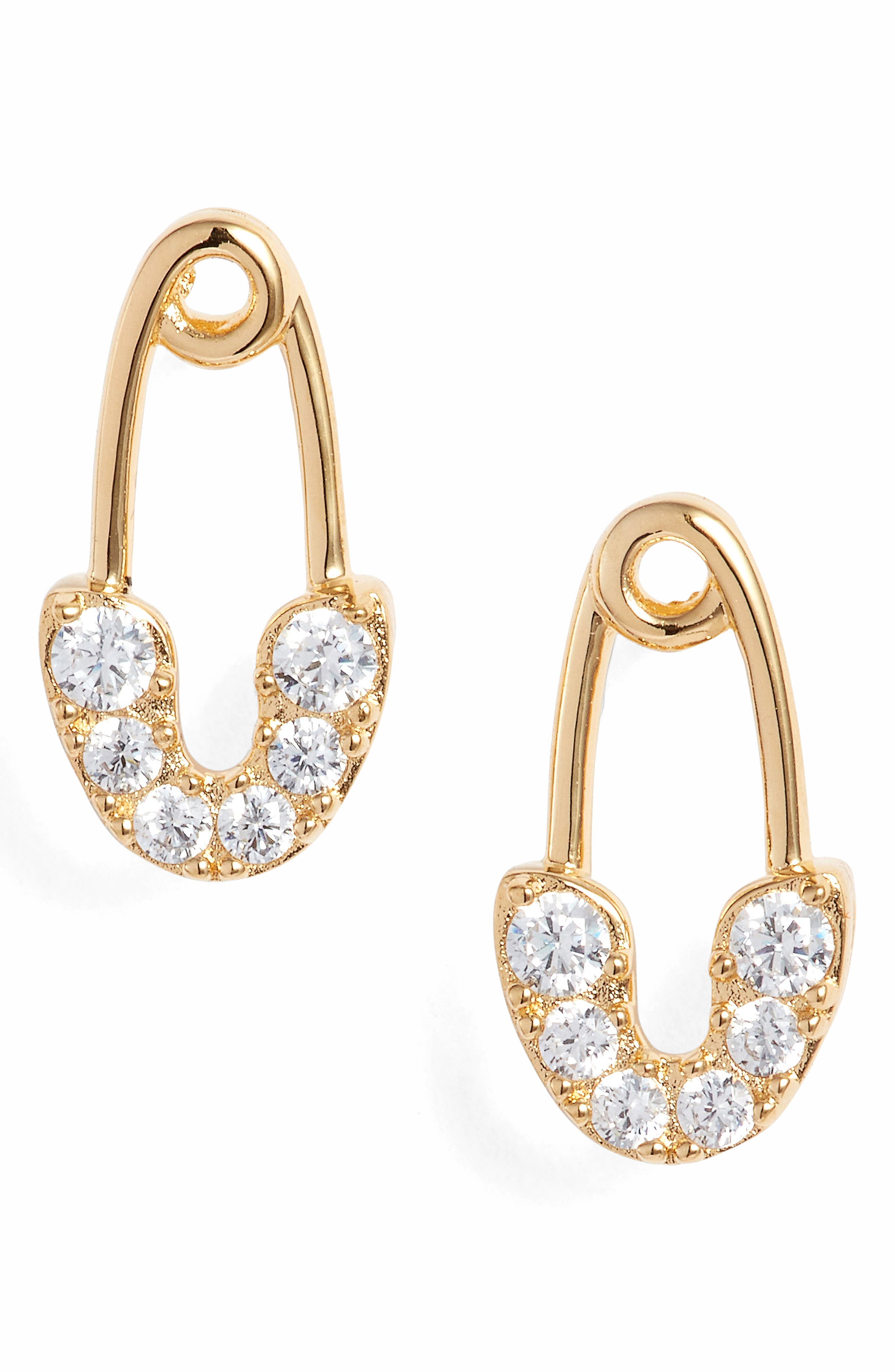 Reminisce Safety Pin Cubic Zirconia Stud Earrings,                         Main,                         color, Gold
