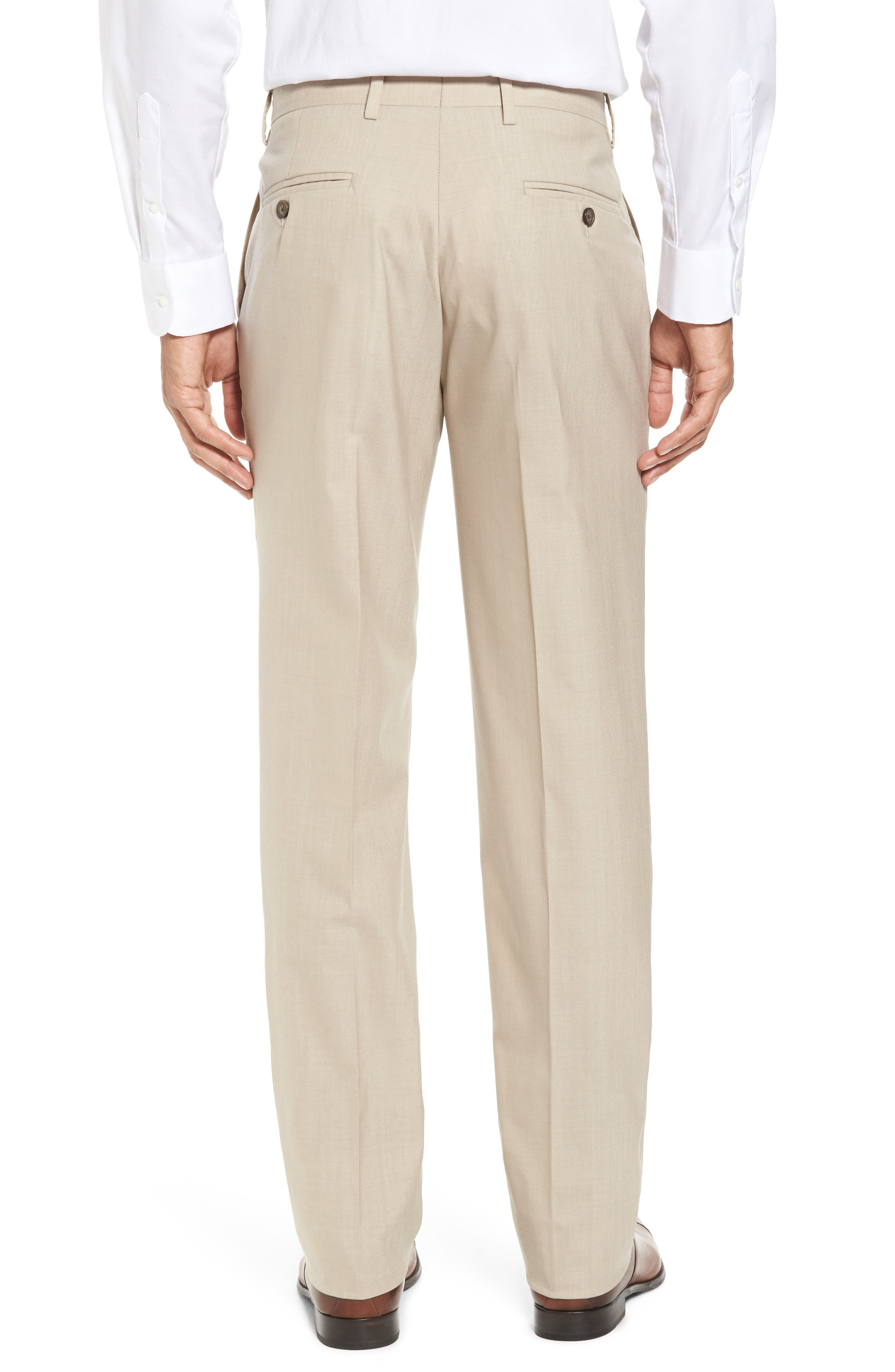 Flat Front Stretch Solid Wool Trousers,                             Alternate thumbnail 2, color,                             Tan