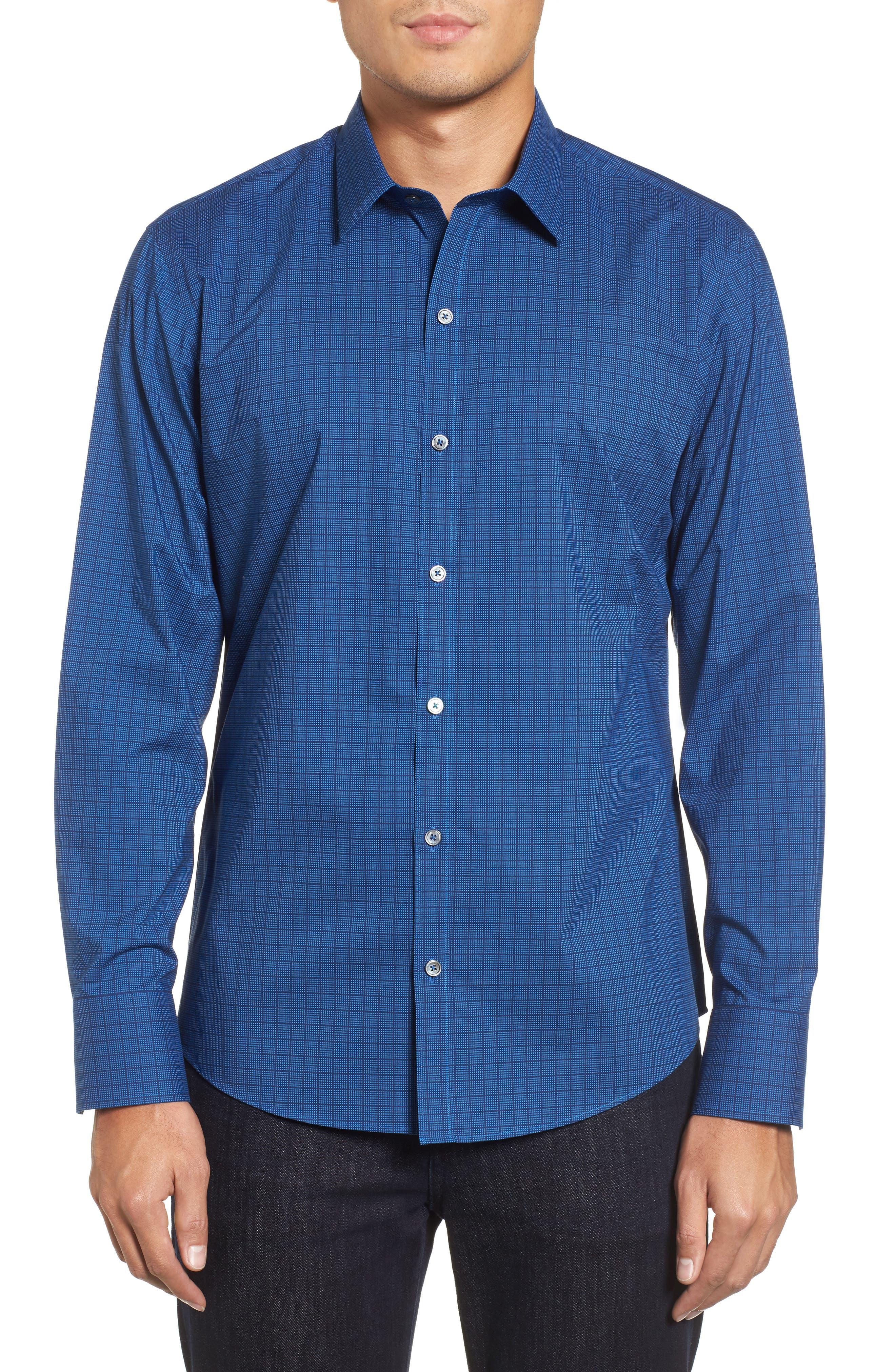 ZACHARY PRELL Harper Slim Fit Tile Print Sport Shirt in Navy
