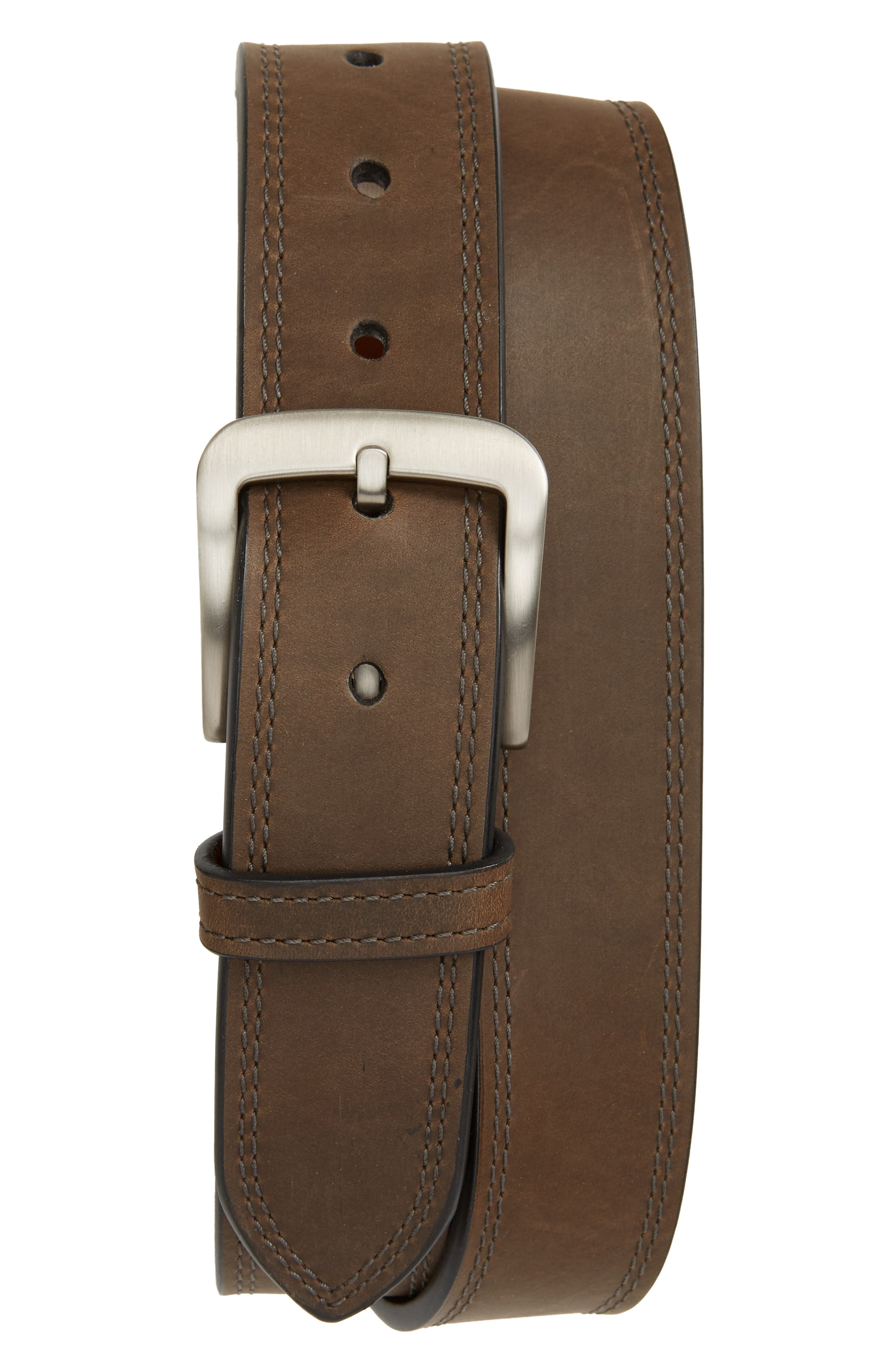 Double Stitch Leather Belt,                             Main thumbnail 1, color,                             Charcoal