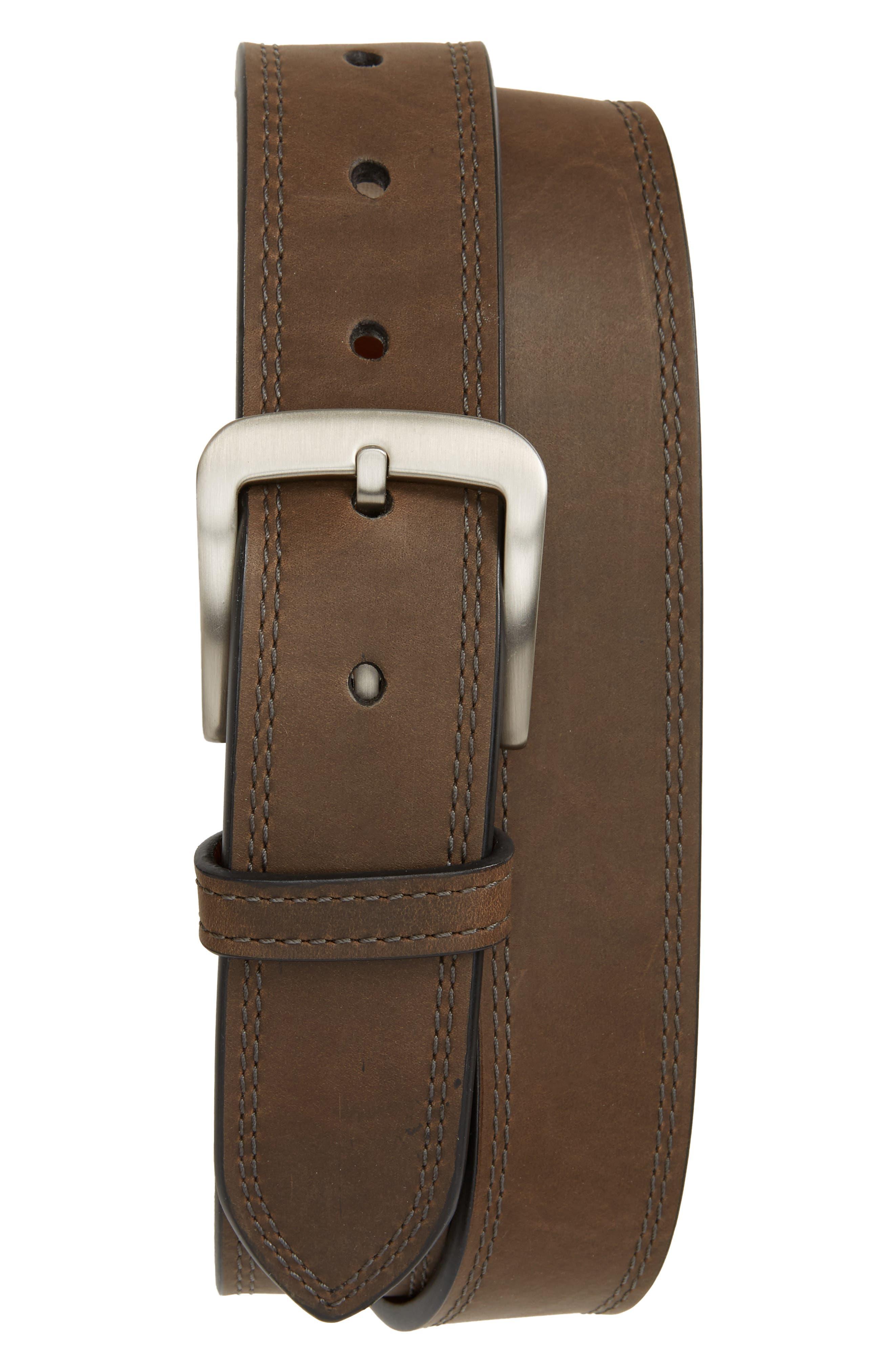 Double Stitch Leather Belt,                         Main,                         color, Charcoal