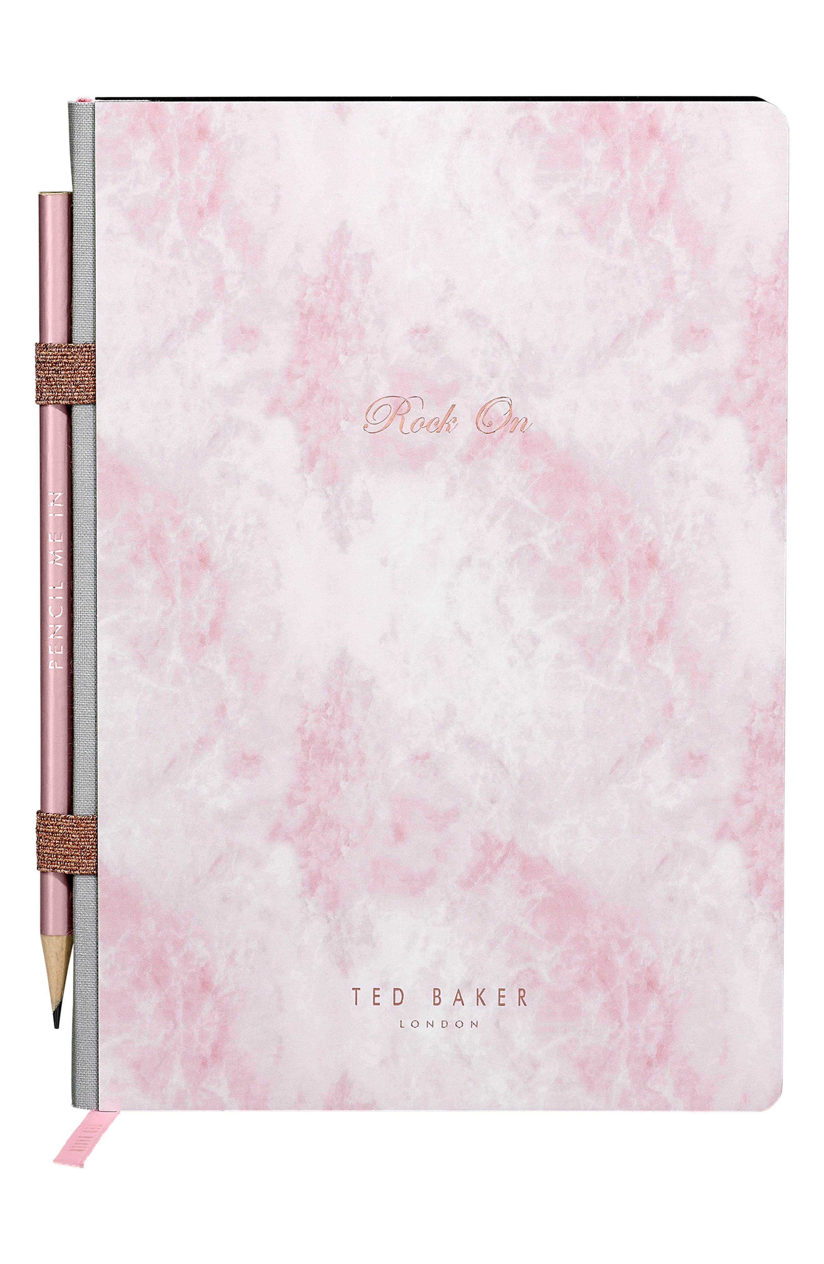 Wild and Wolf x Ted Baker London In Ore of You Gemstone Notebook with Pencil,                             Main thumbnail 1, color,                             Rose Quartz