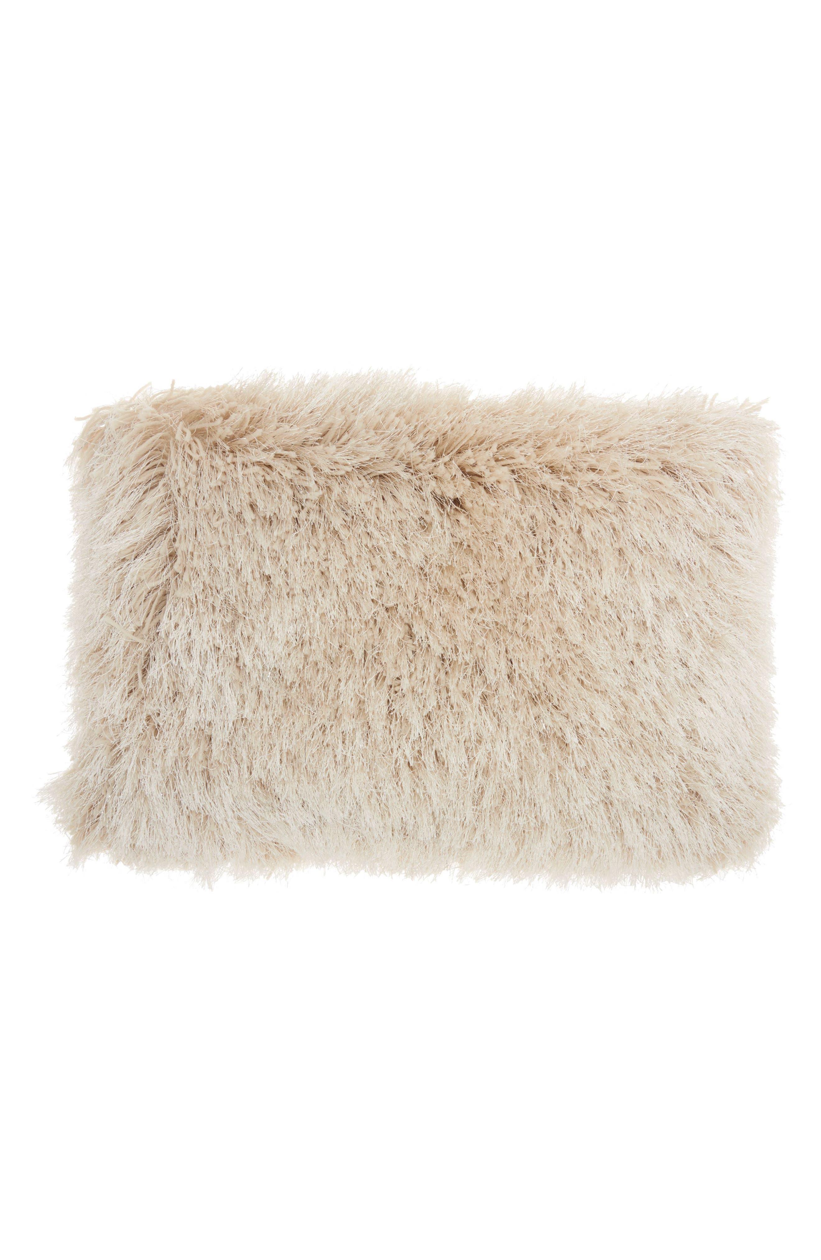 Shimmer Faux Fur Pillow,                         Main,                         color, Beige