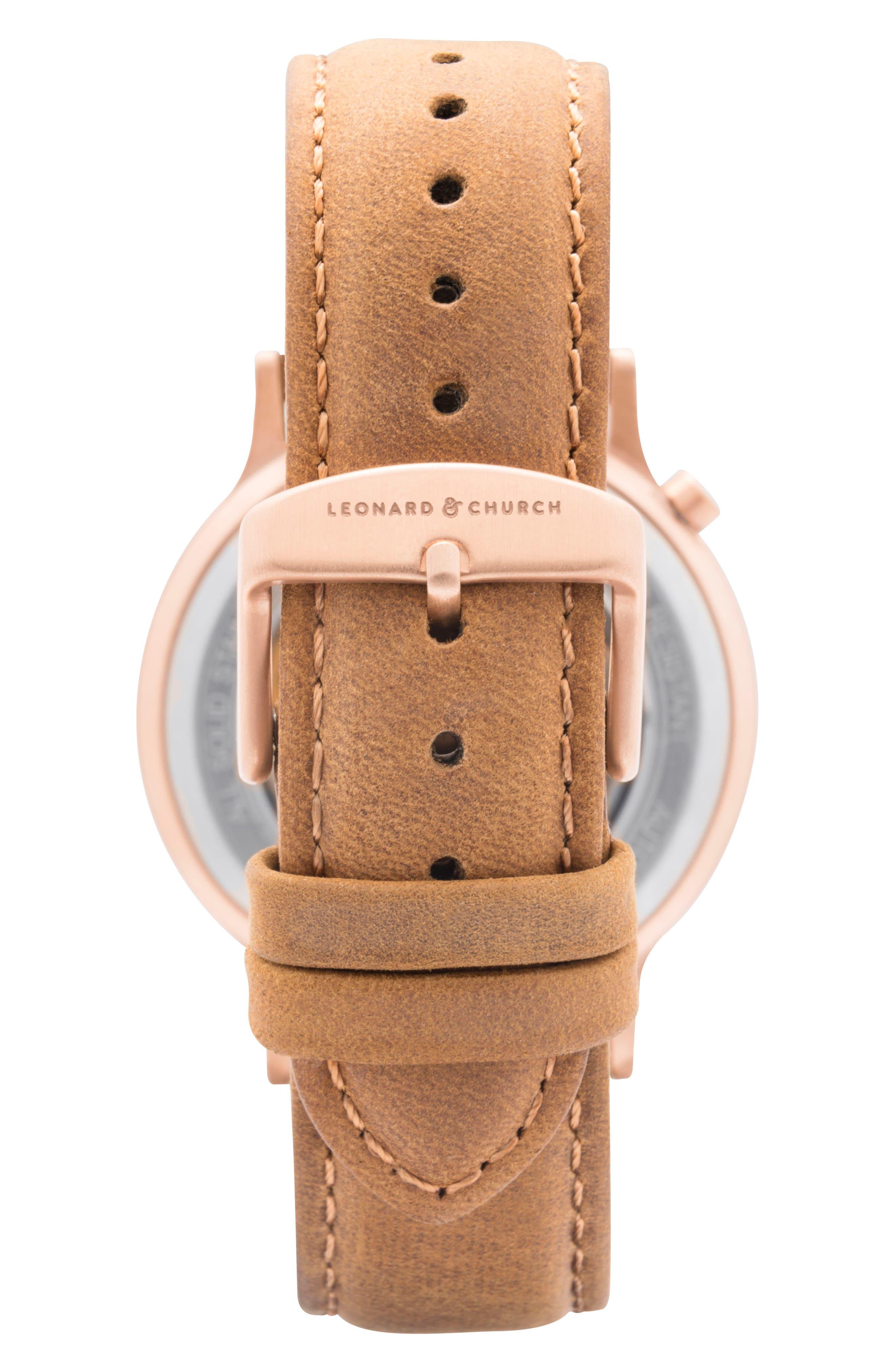 Leonard & Church Sullivan Automatic Suede Strap Watch, 39mm,                             Alternate thumbnail 3, color,                             Tan/ Rose Gold
