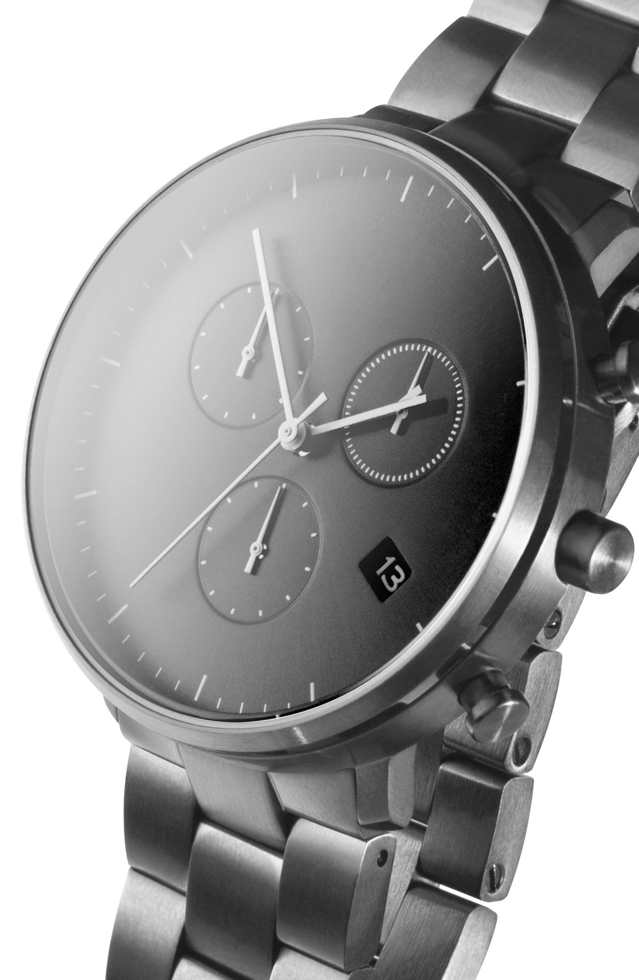 Leonard & Church Bleeker Chronograph Bracelet Watch, 40mm,                             Alternate thumbnail 6, color,                             Black