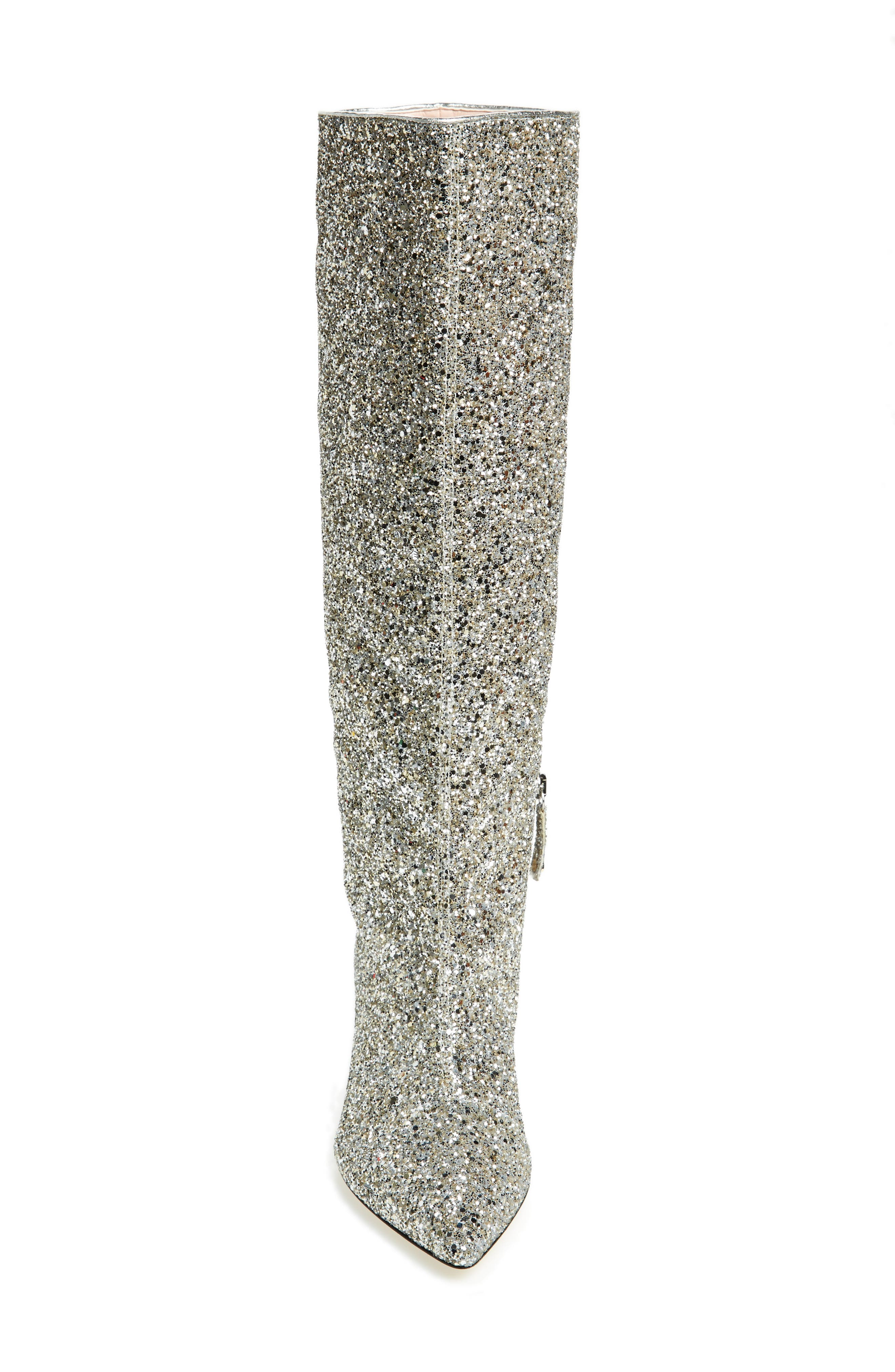 olina glitter knee high boot,                             Alternate thumbnail 4, color,                             Silver/ Gold Glitter