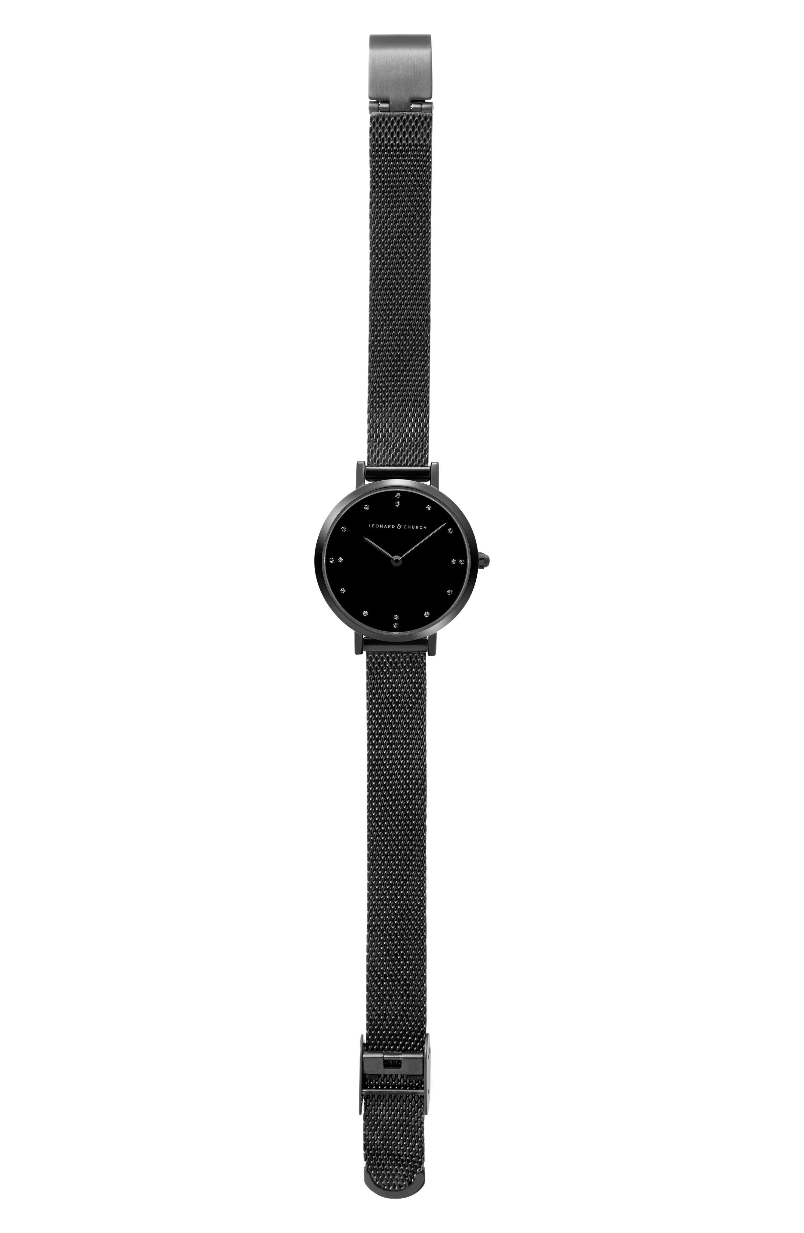 Leonard & Church Mercer Mesh Strap Watch, 30mm,                             Alternate thumbnail 6, color,                             Black