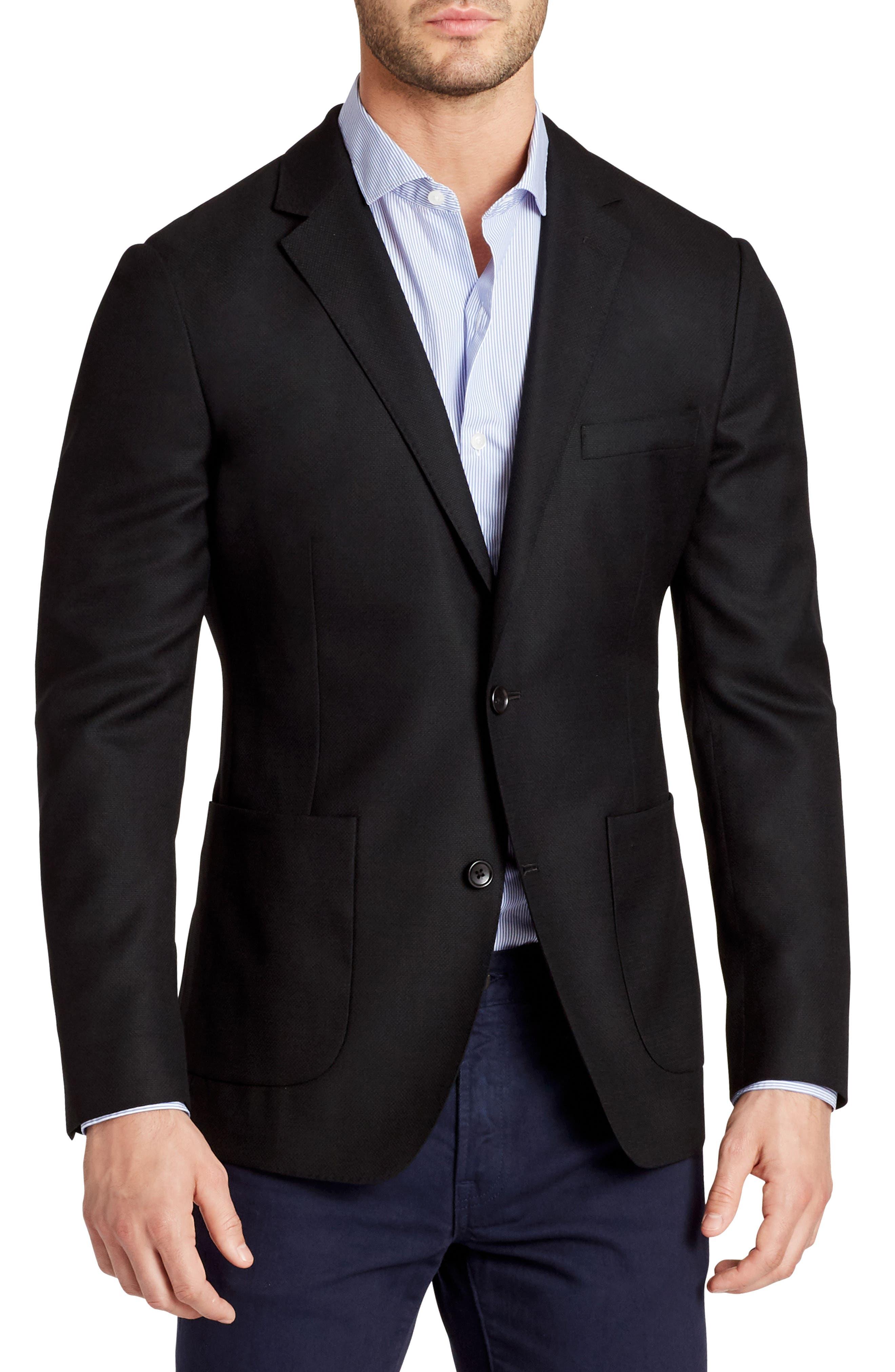 Wool Unconstructed Sport Coat,                             Main thumbnail 1, color,                             Black