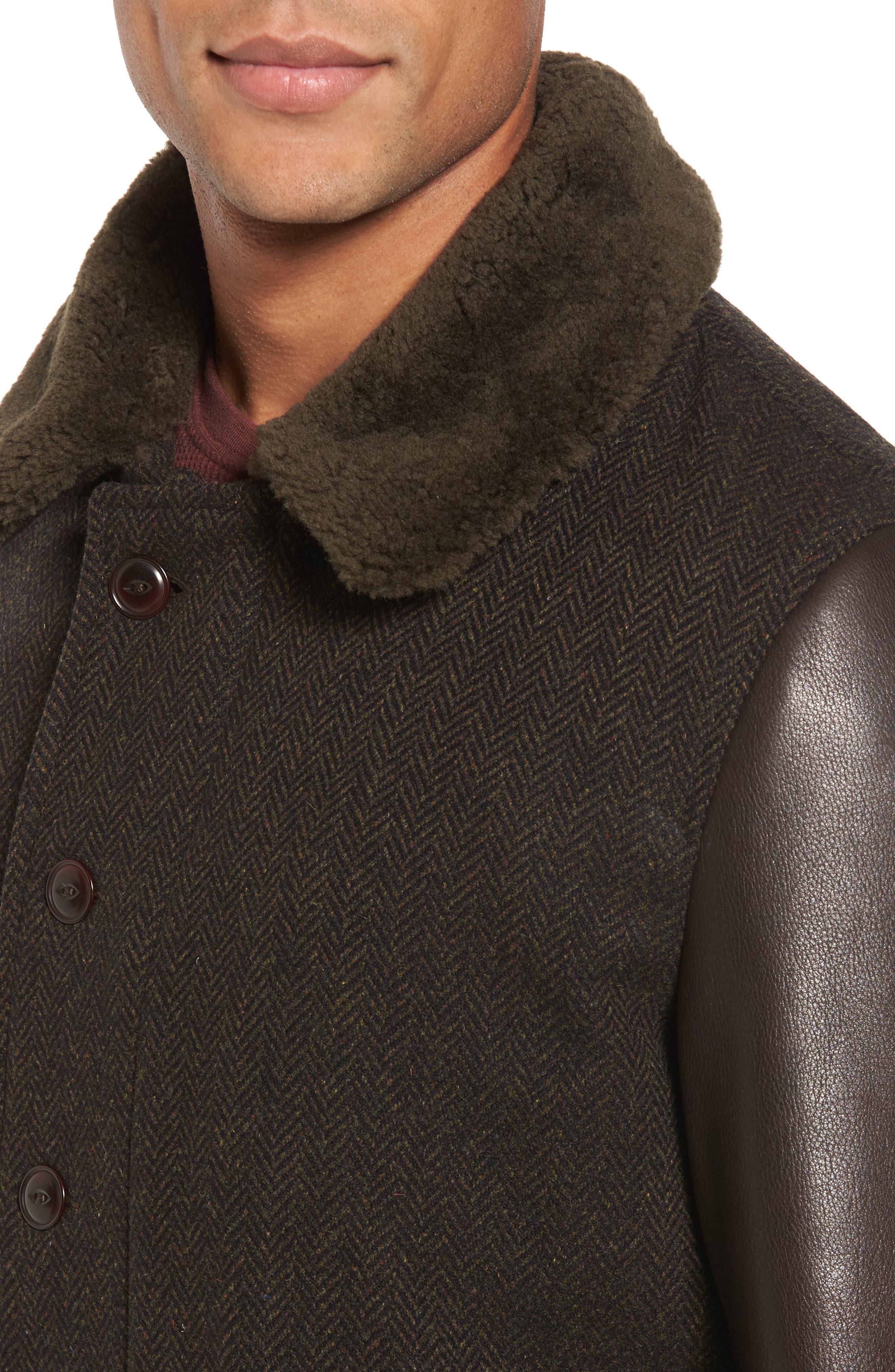 Genuine Shearling Collar N-1 Deck Jacket,                             Alternate thumbnail 4, color,                             Olive