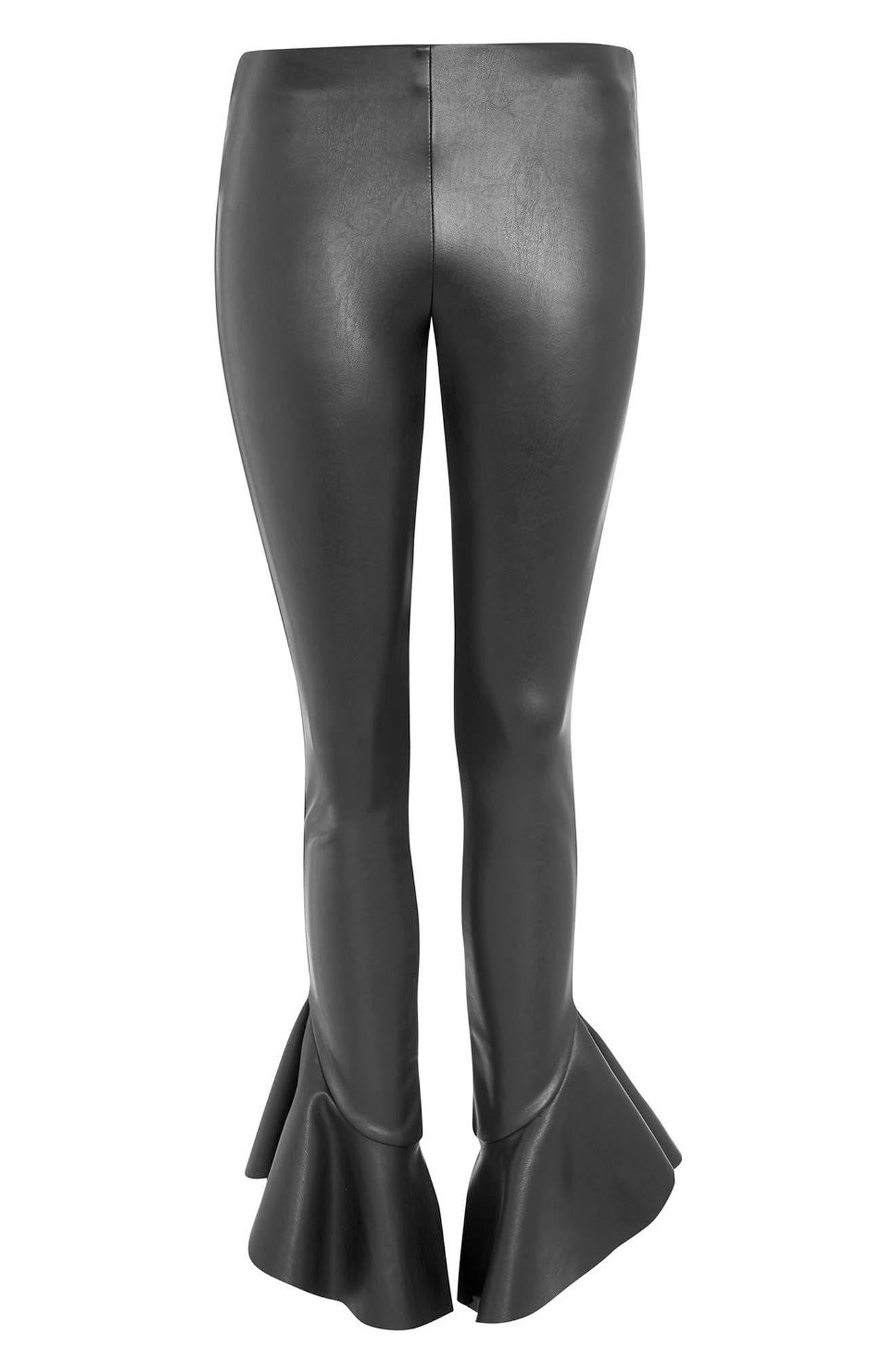Mermaid Flare Faux Leather Leggings,                             Alternate thumbnail 4, color,                             Black