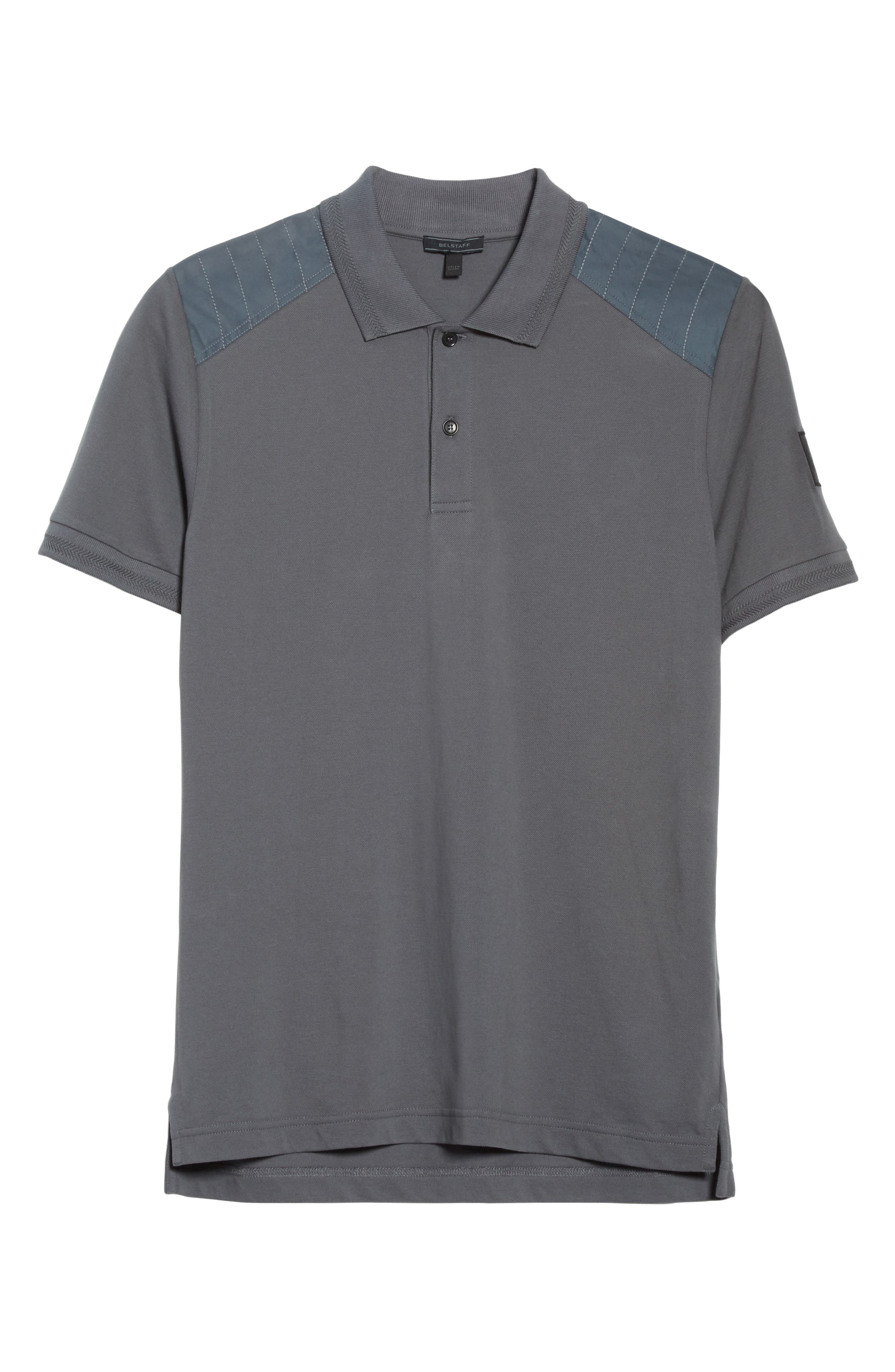 HItchin Extra Trim Fit Piqué Polo,                             Alternate thumbnail 6, color,                             Blue Pewter