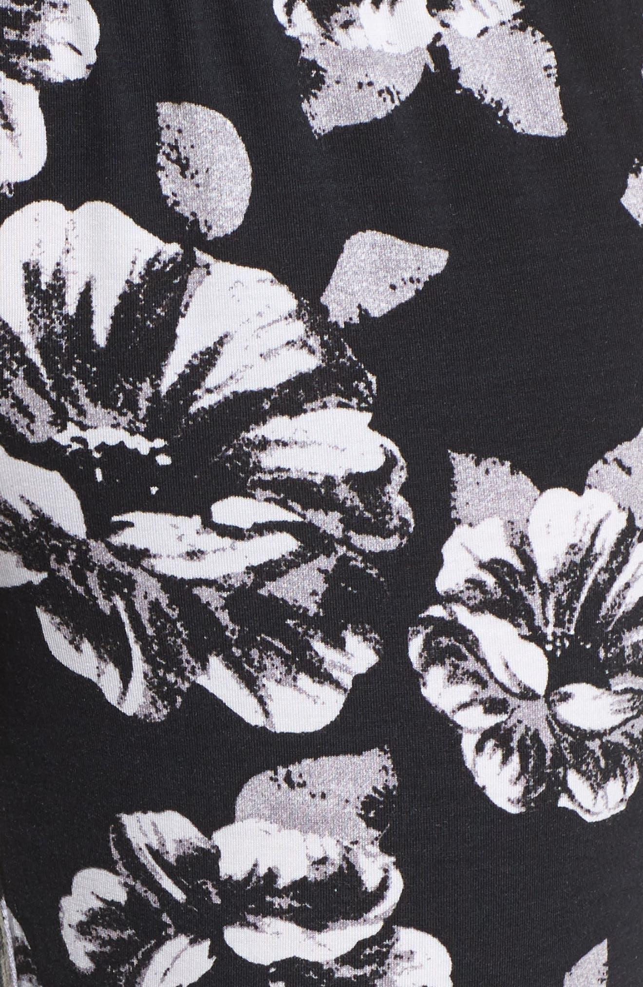 Floral Pajama Pants,                             Alternate thumbnail 5, color,                             Black