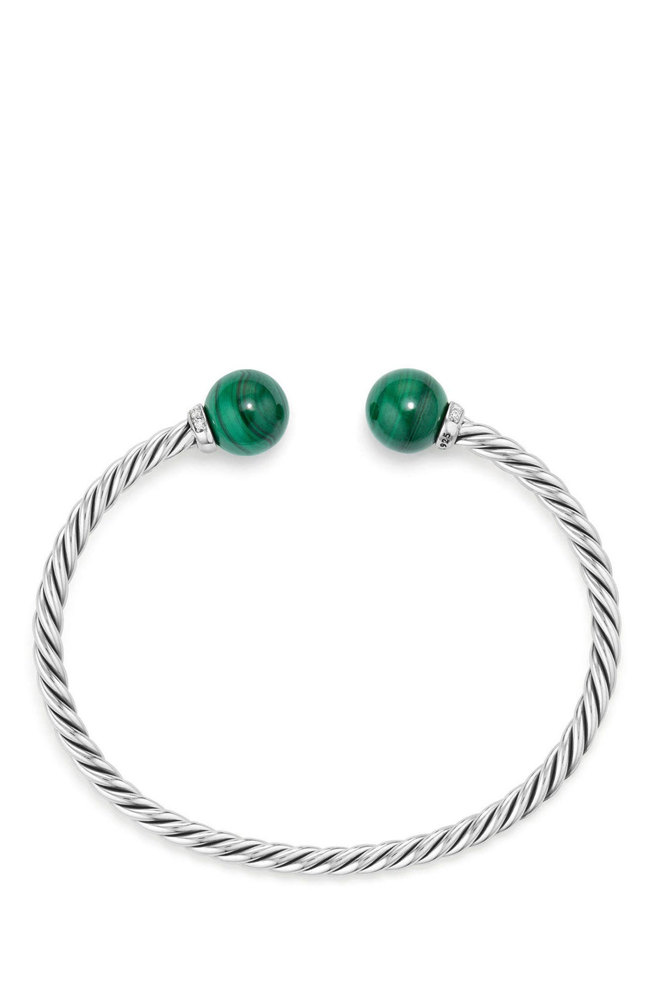 Solari Bead Bracelet with Diamonds,                             Alternate thumbnail 2, color,                             Silver/ Diamond/ Malachite