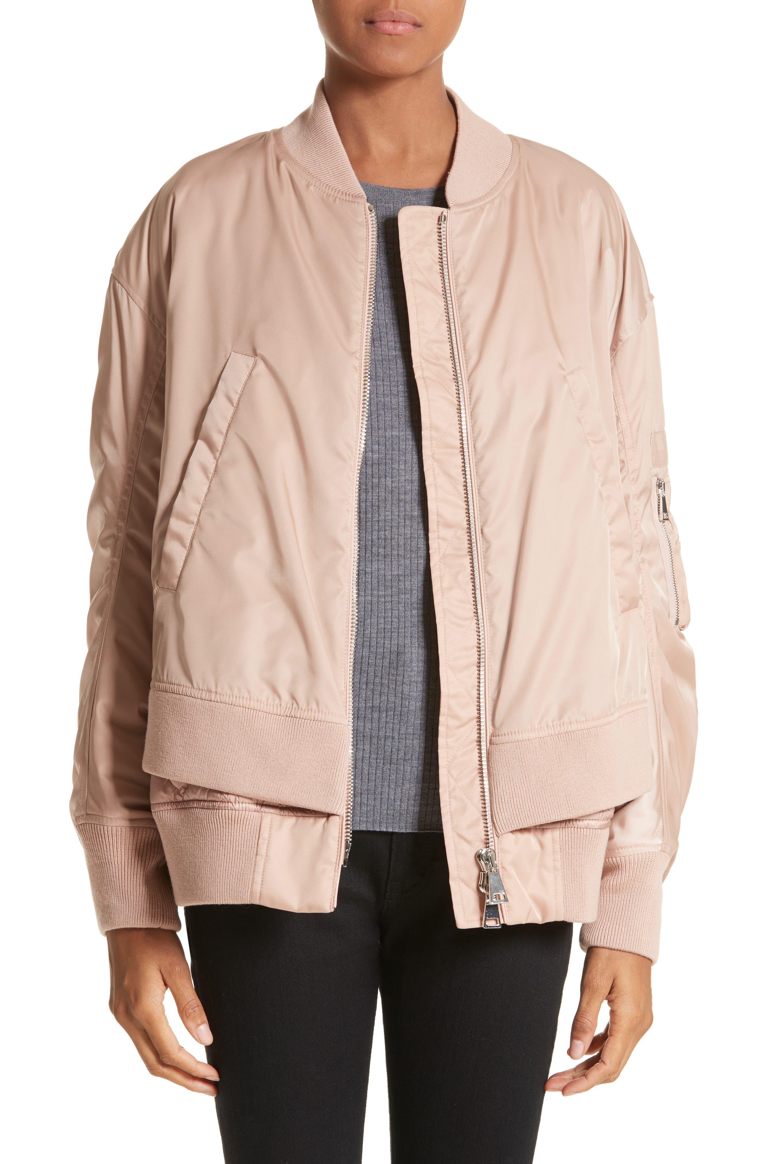 Aralia Layered Bomber Jacket,                         Main,                         color, Pink